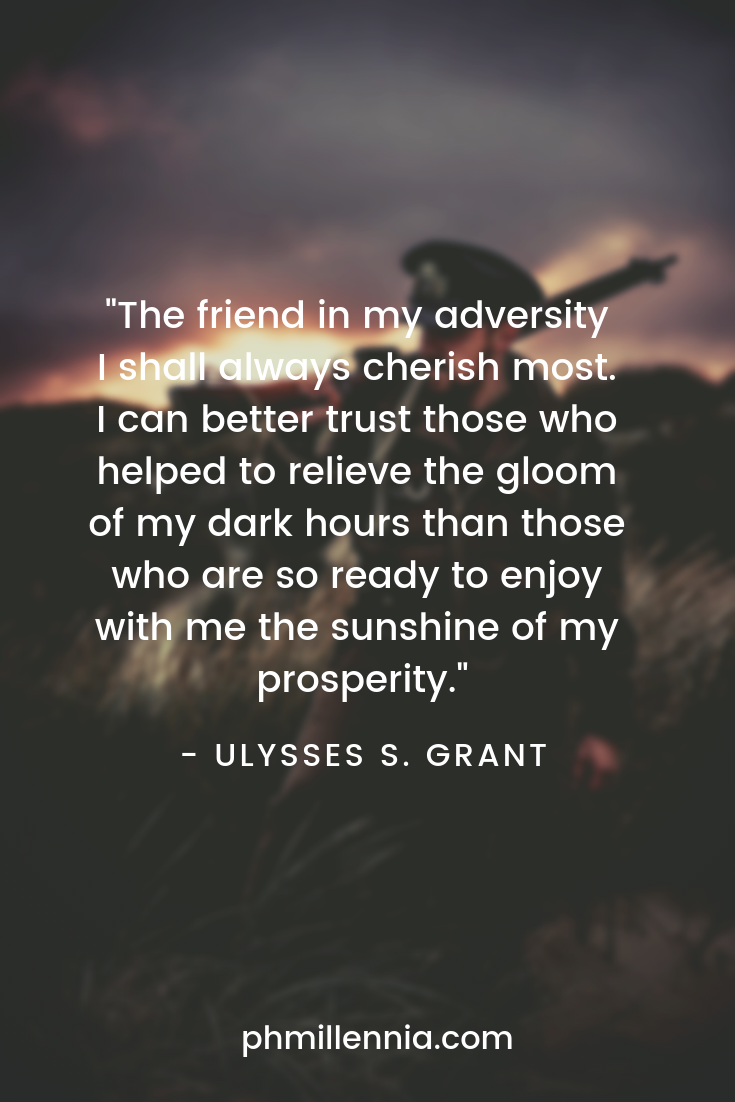 A quote on friendship by Ulysses Grant on a background of a soldier making his way home after the war.