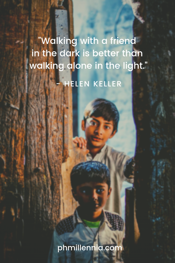 A quote on friendship by Helen Keller on a background of two South Asian kids framed against a doorway.