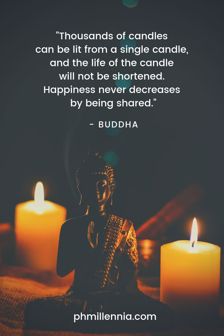 A quote on happiness by Buddha on a background of a statue of the Buddha himself surrounded by lit candles.