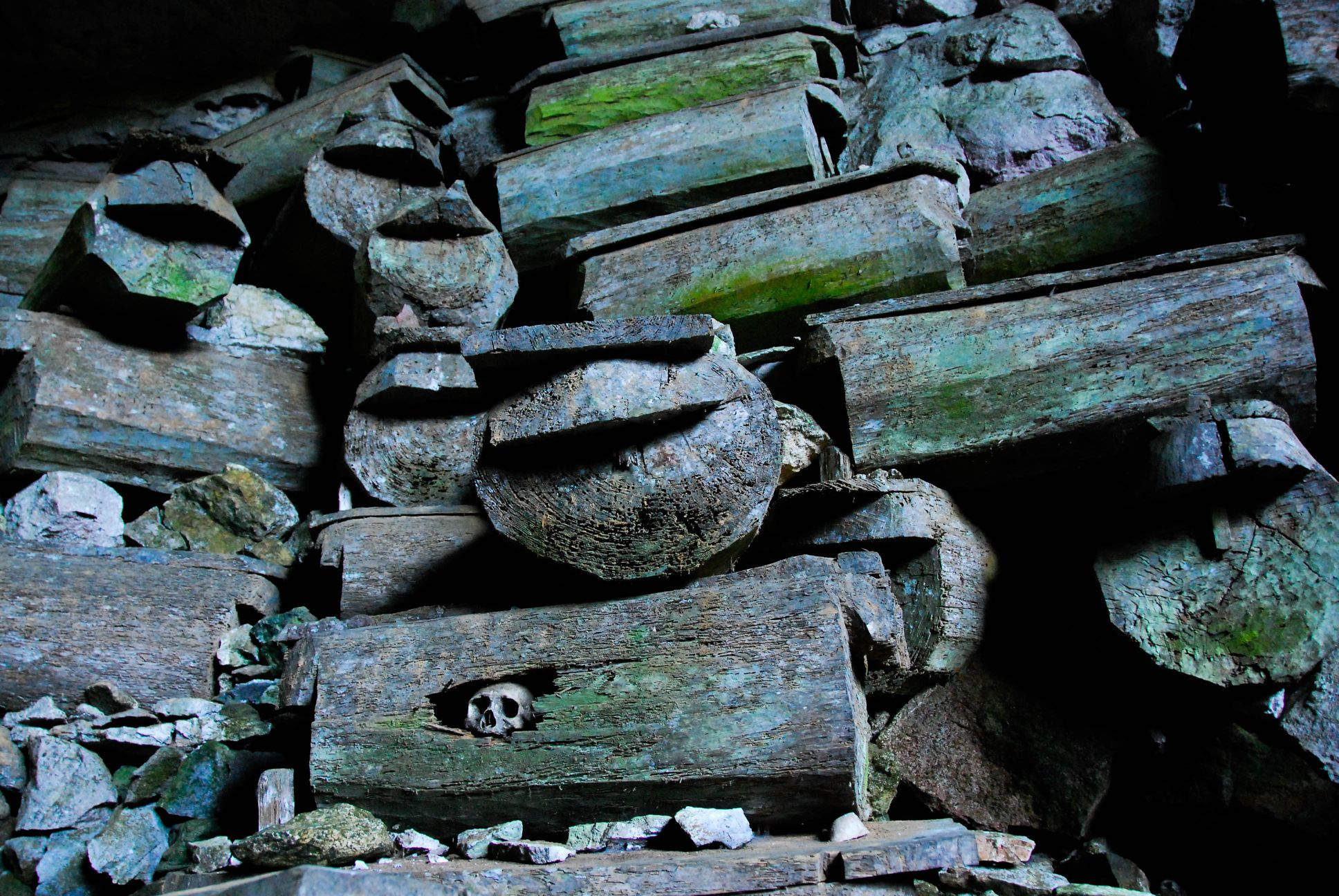 Stack of pinewood coffins at Lumiang Cave in Sagada, Philippines