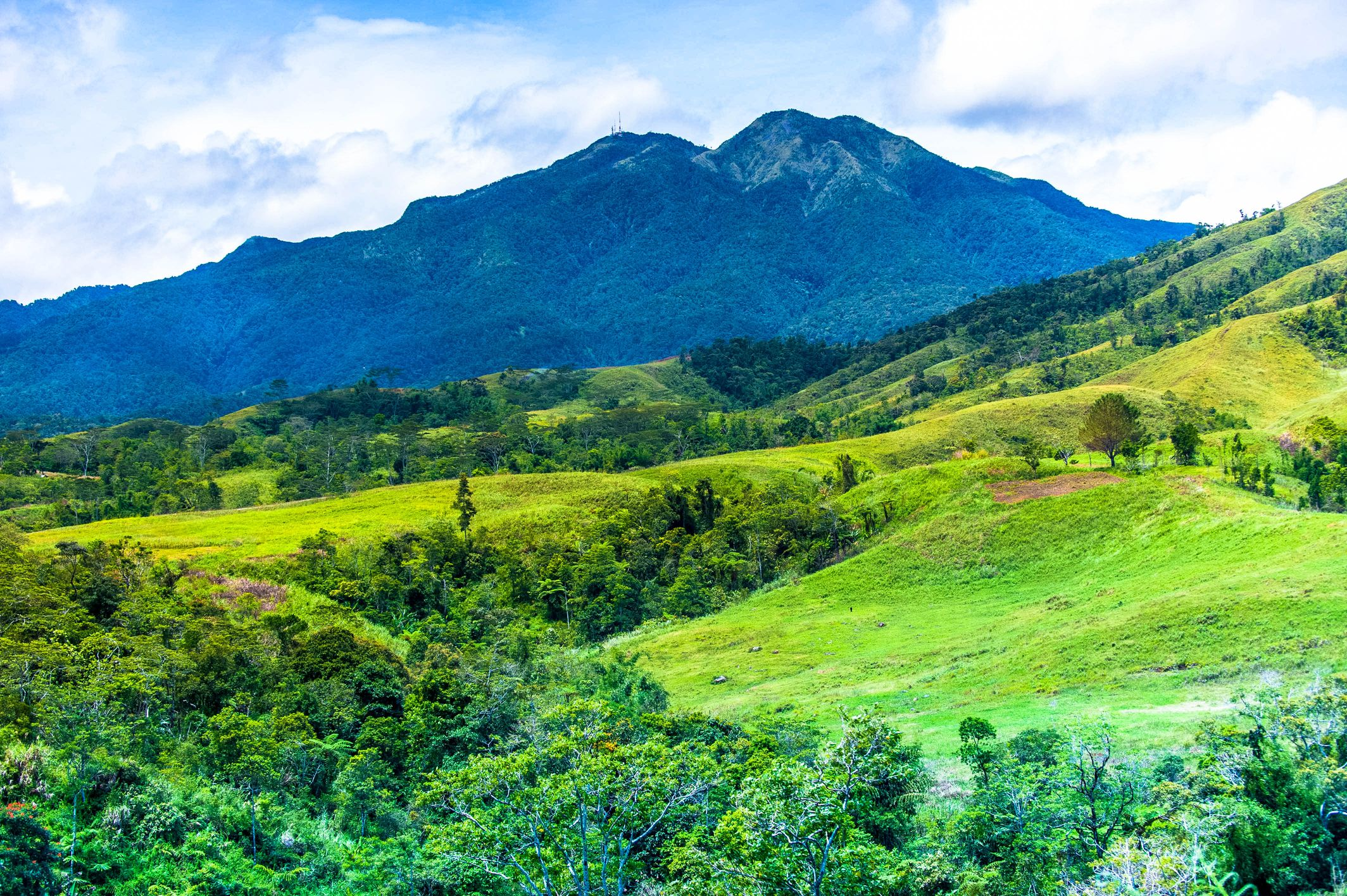 Dark mass of Mount Kitanglad seen from the green highlands of Bukidnon