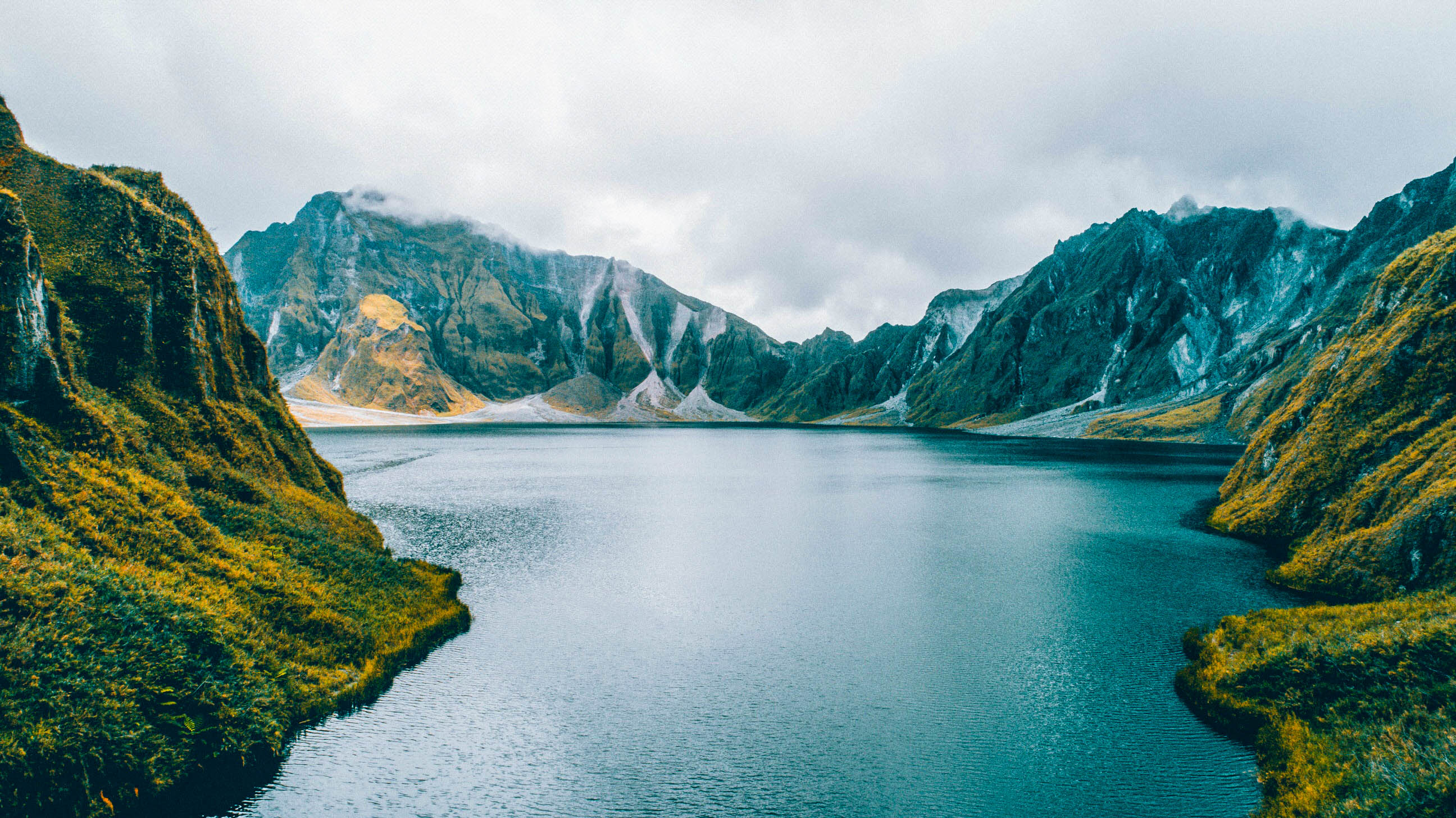 Lake Pinatubo surrounded by the summit walls of Mount Pinatubo, Philippines