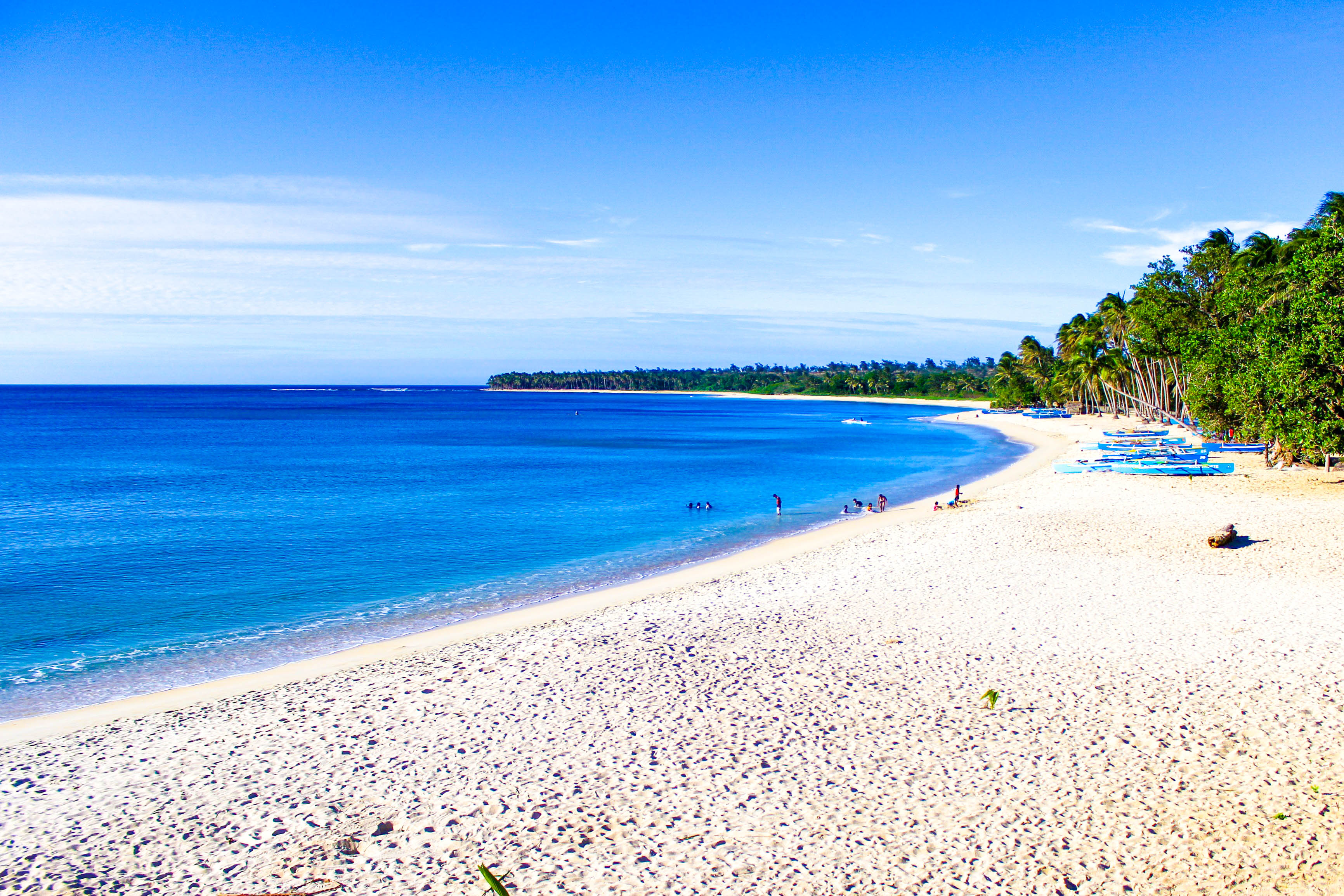 White sand beach and the blue sea in Pagudpud, Philippines
