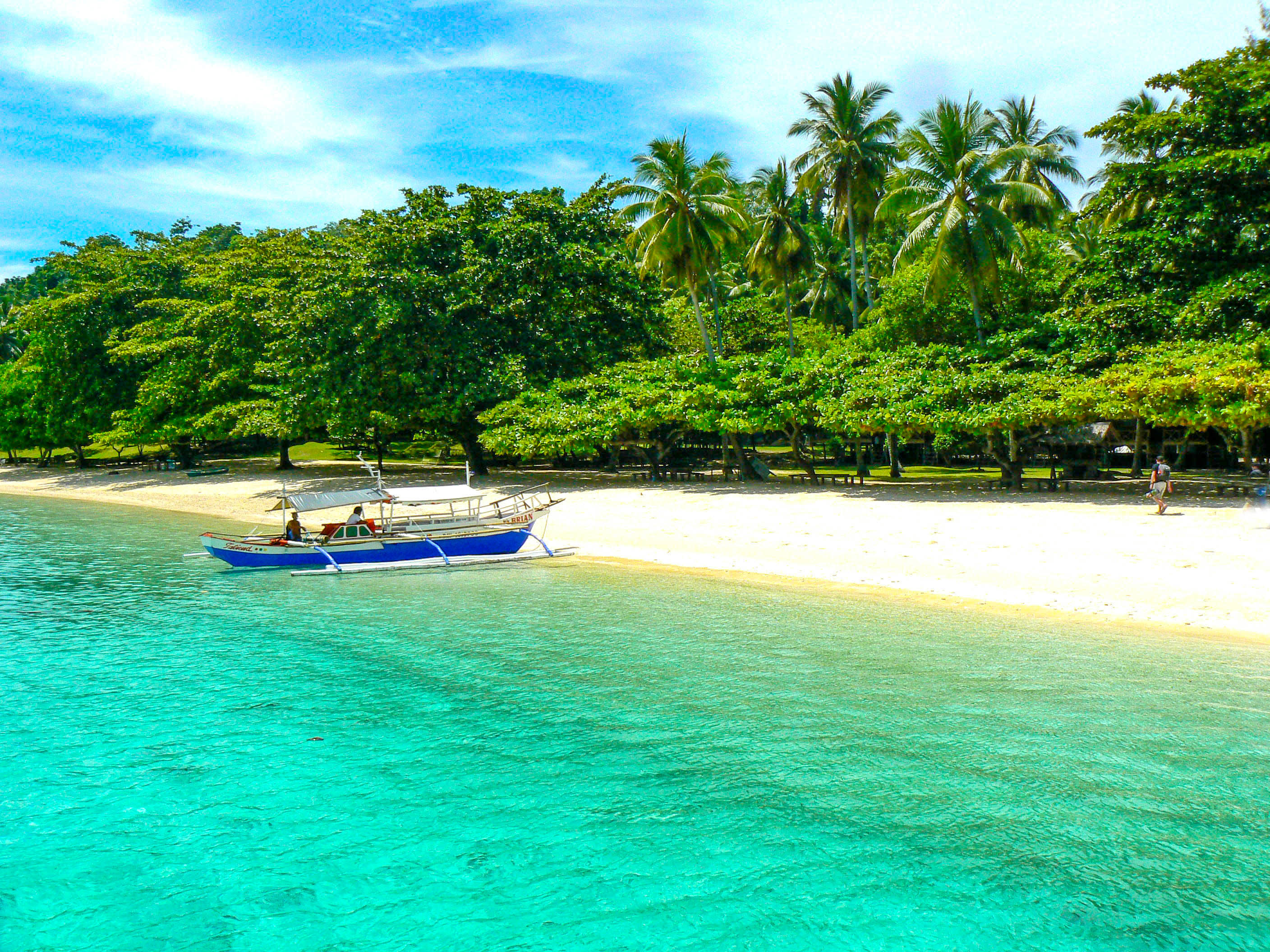 Boat moored on a white sandy shore lined with trees and coconut palms in Samal, Philippines