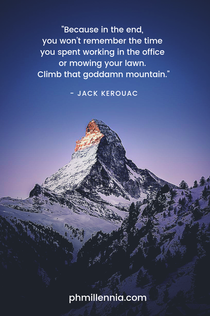 A quote on travel by Jack Kerouac on an image of the Matterhorn