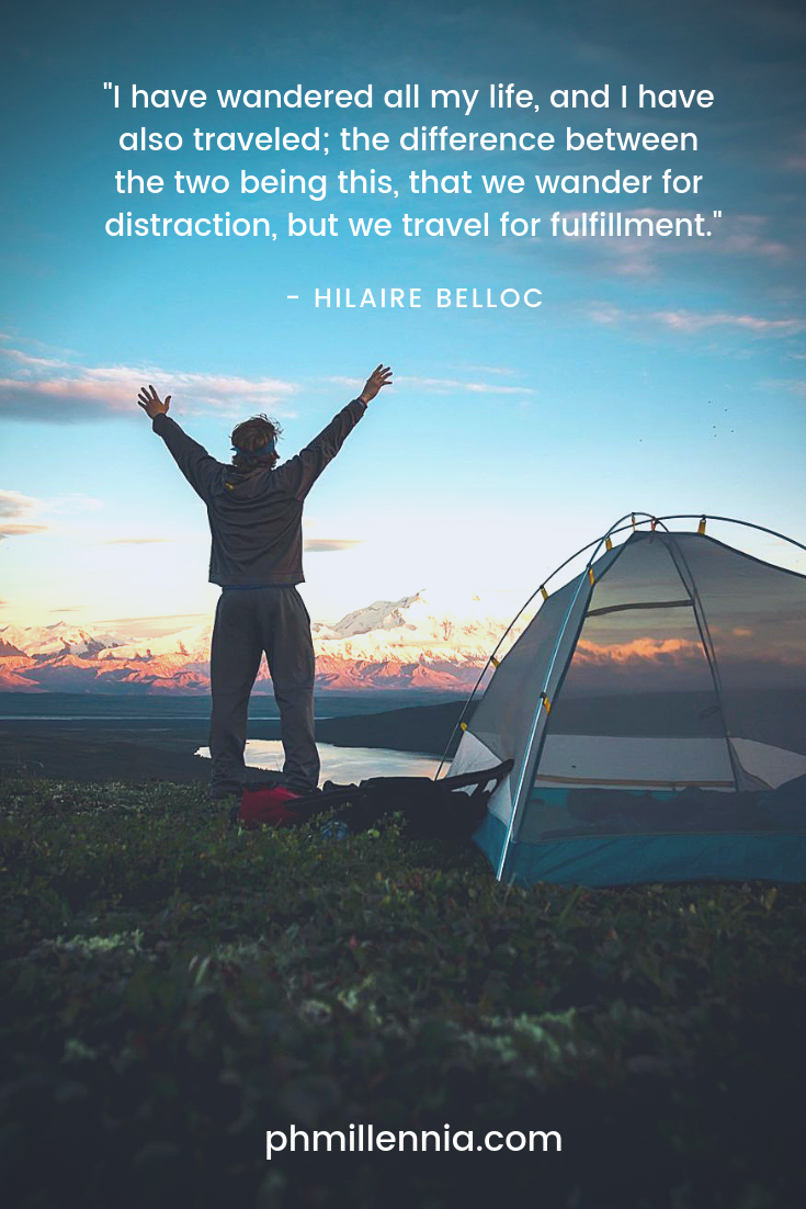 A quote on travel by Hilaire Belloc on an image of a man with raised arms staring into the setting sun.
