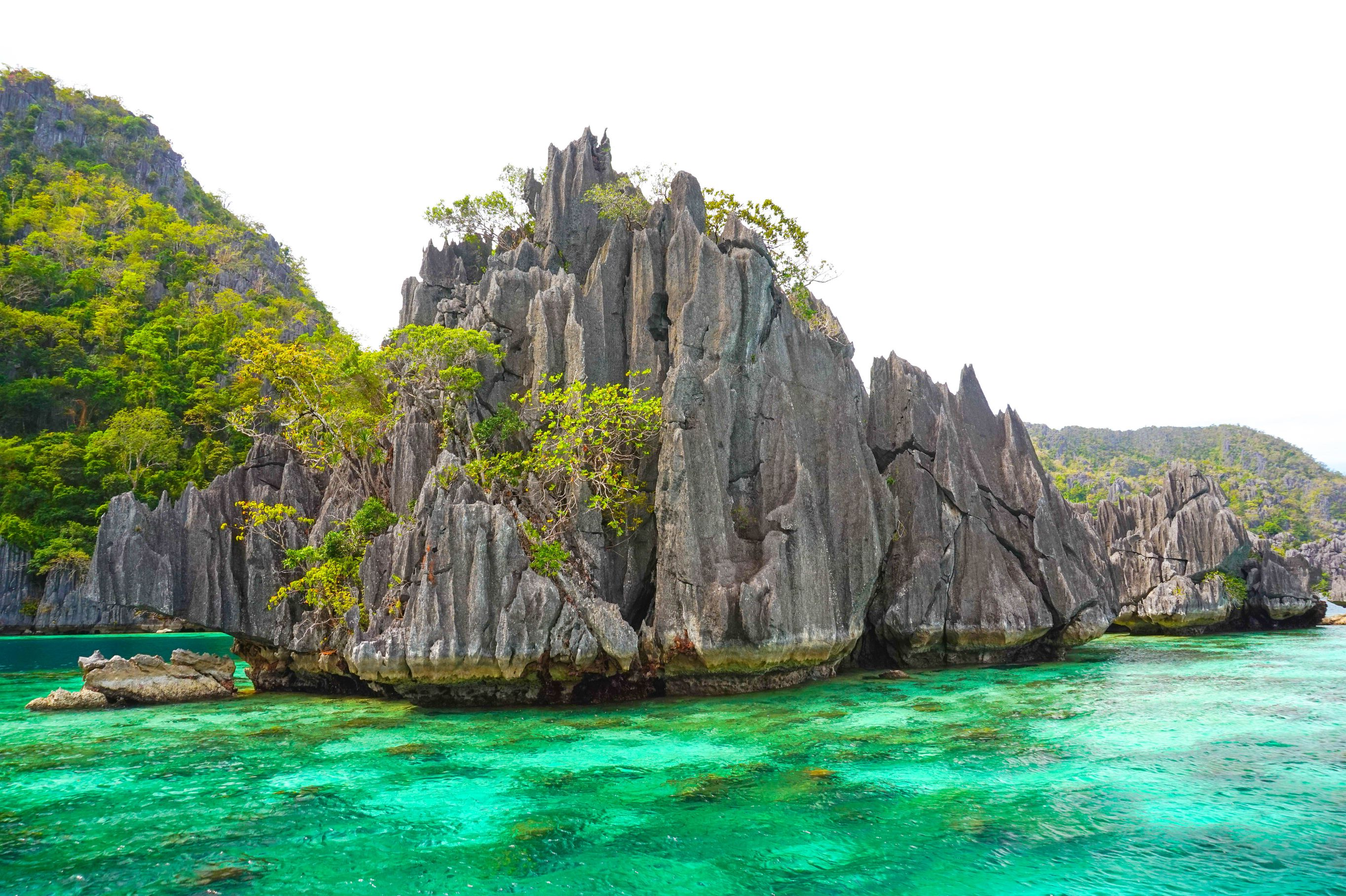 Limestone cliffs overhung with vegetation rising above turquoise waters in Coron, one of the most amazing places to visit in the Philippines