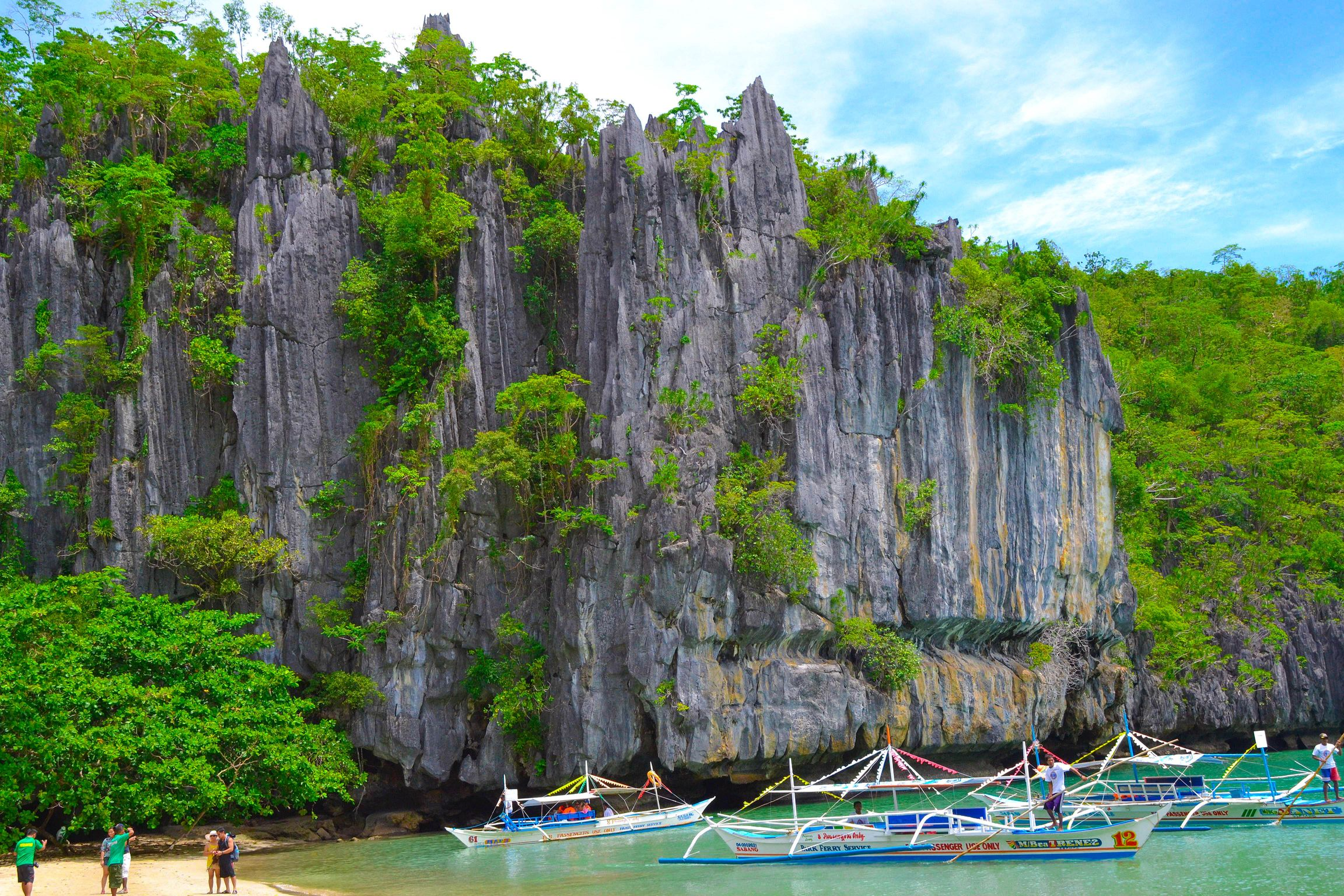 Outrigger boats moored beneath a towering limestone cliff overhung with vegetation