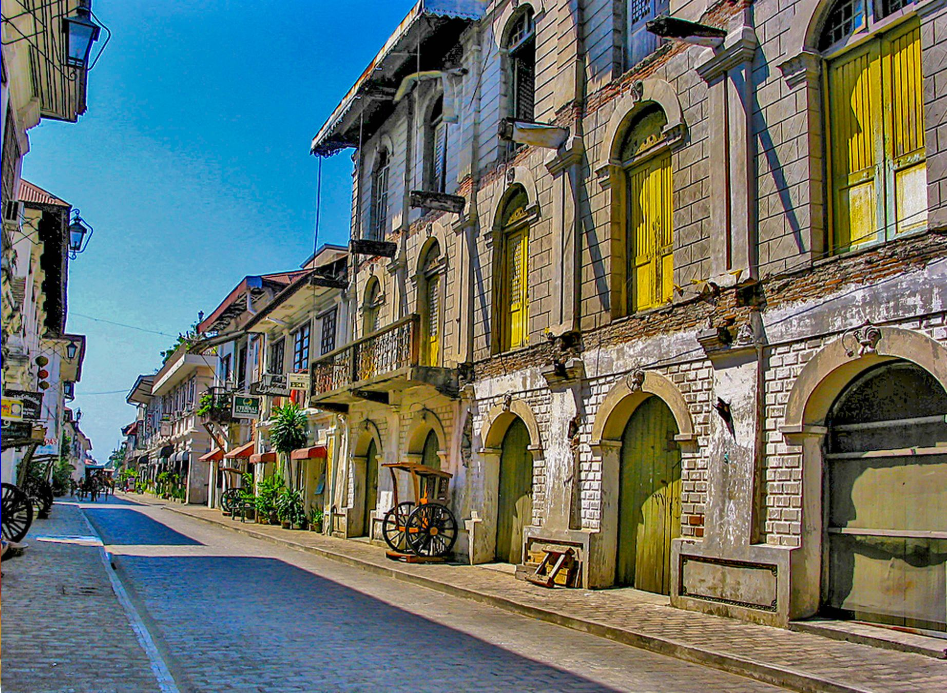 Facade of an old Spanish colonial house in Vigan City, one of the most amazing places to visit in the Philippines