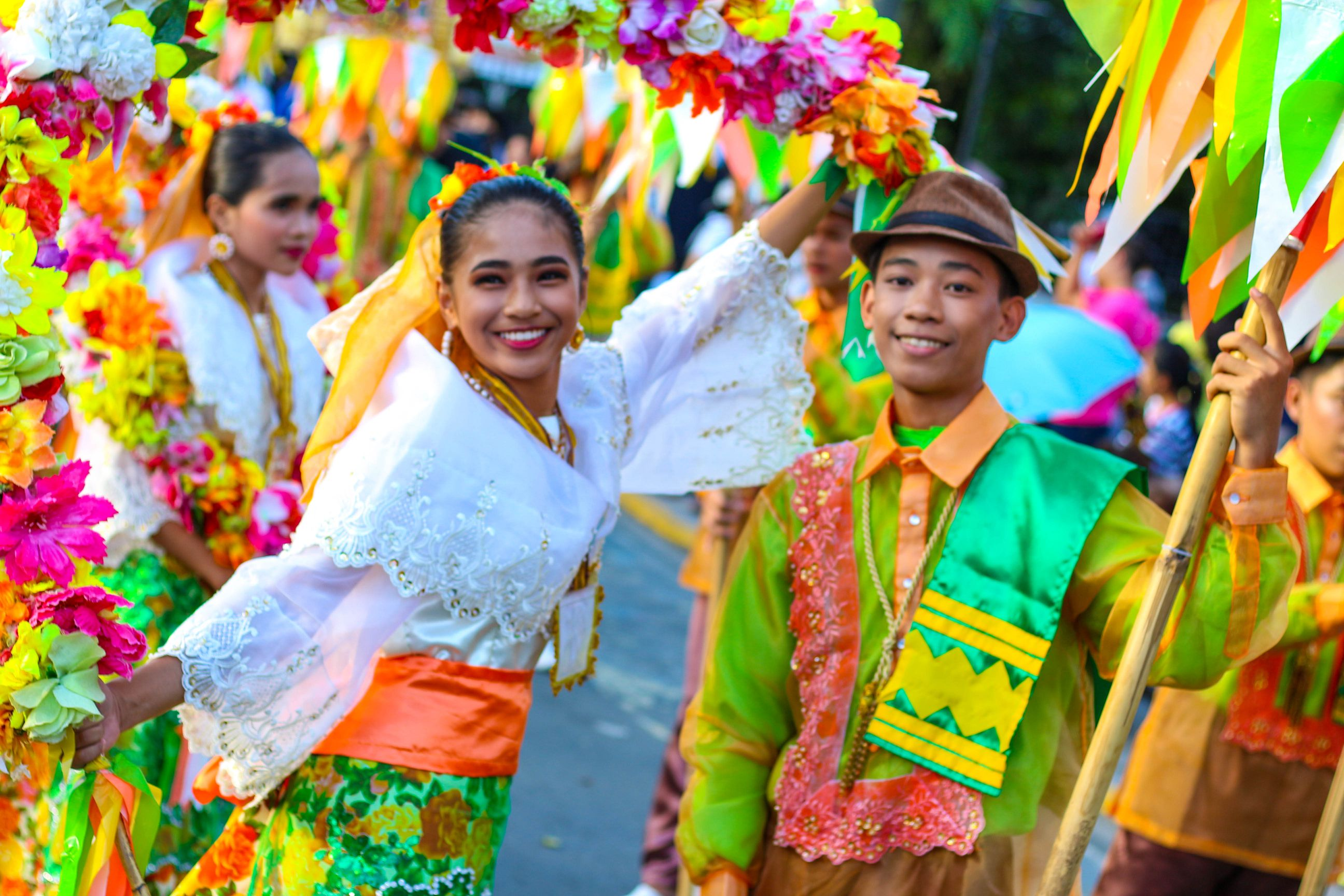 Filipino youths in colorful traditional costumes