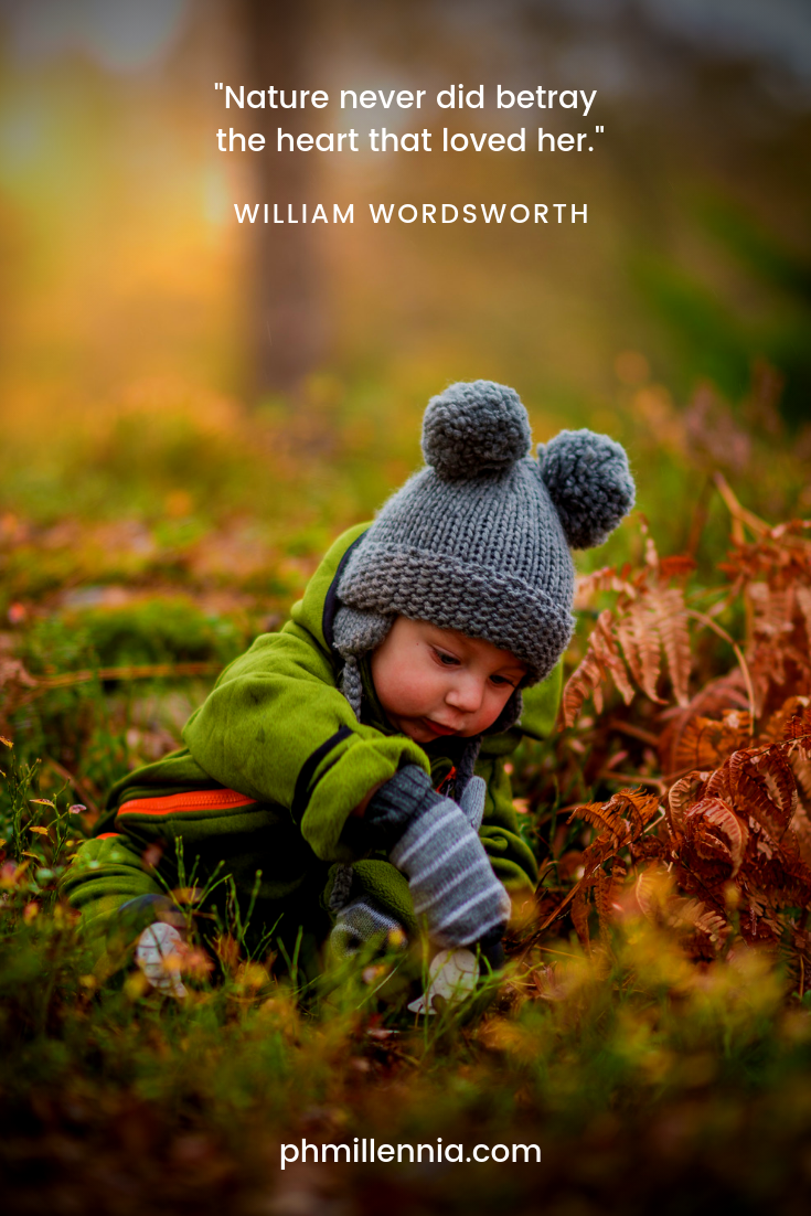 A quote on nature by William Wordsworth on a background of a child wearing a bonnet playing upon the grass