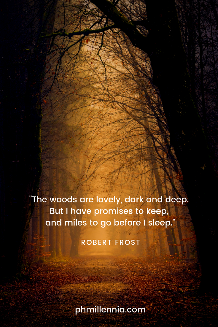 A quote on nature by Robert Frost on a background of a forest path overhung by dark trees and carpeted with autumn leaves