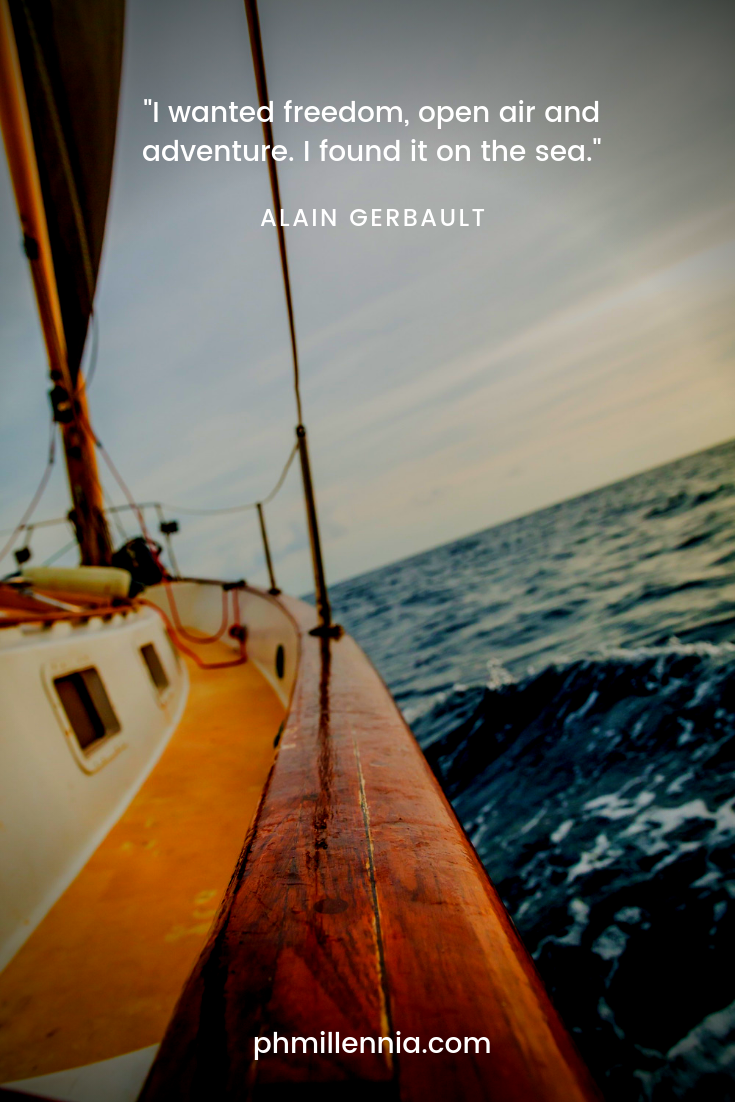 Quote about the sea by Alain Gerbault on a background of the side of a sailboat cruising along the sea