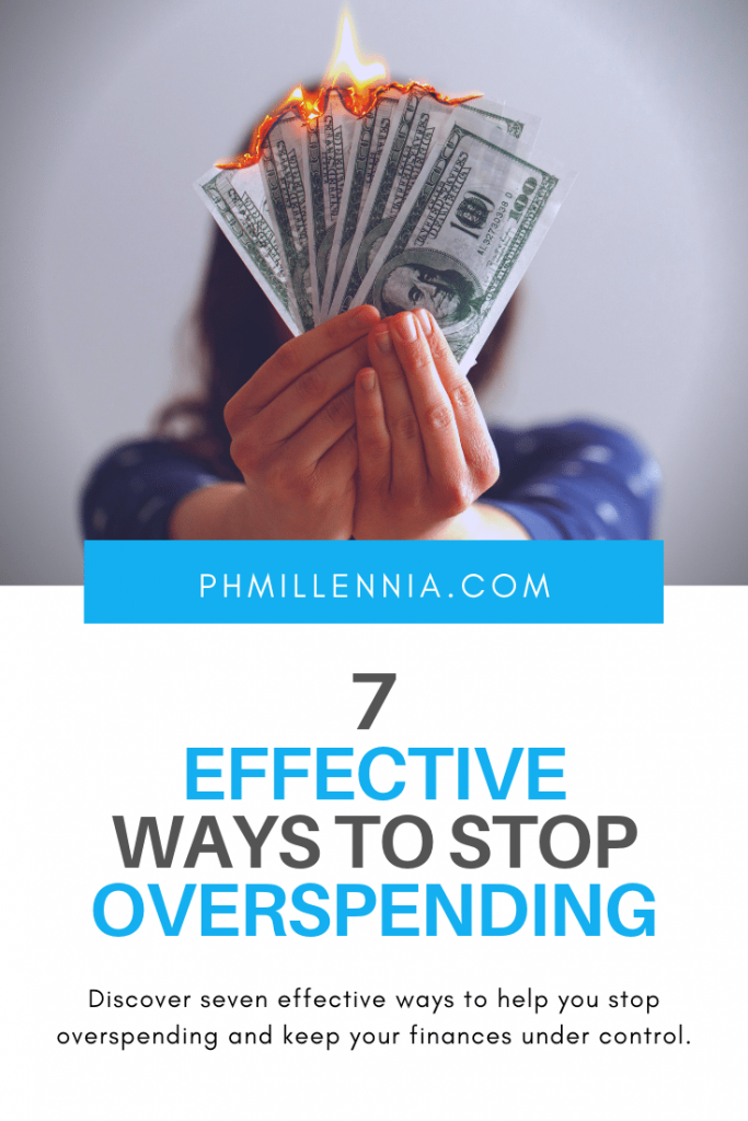 Pinterest Graphic for the article 7 Effective Ways to Stop Overspending