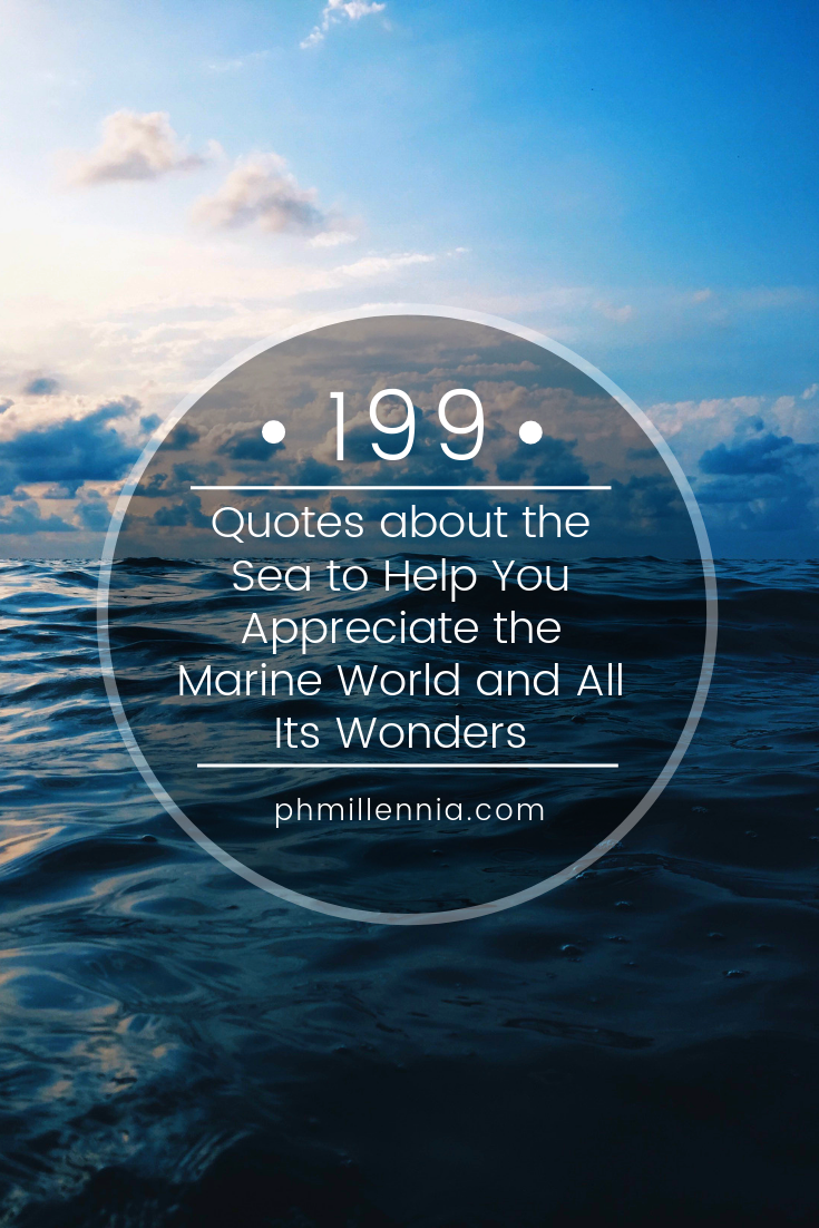 A graphic for a compilation of quotes about the sea