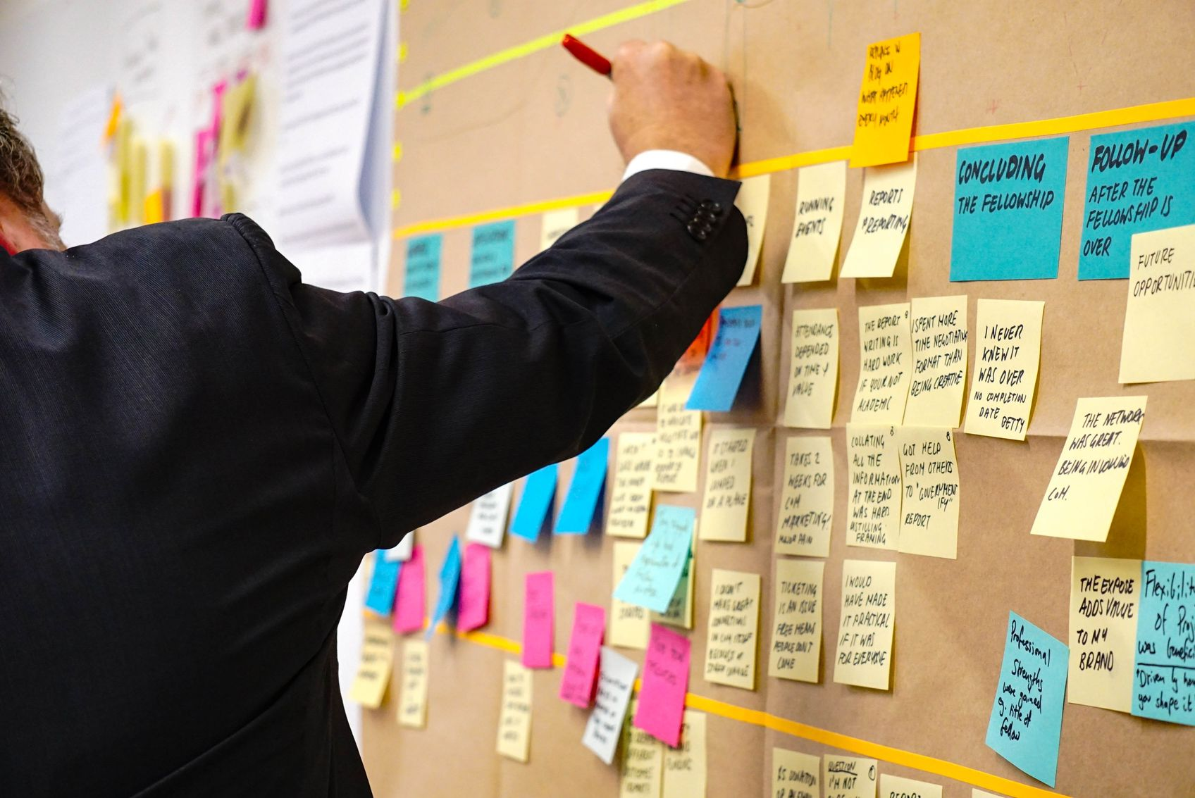 Man in suit writing on a board pinned with multiple post-it notes