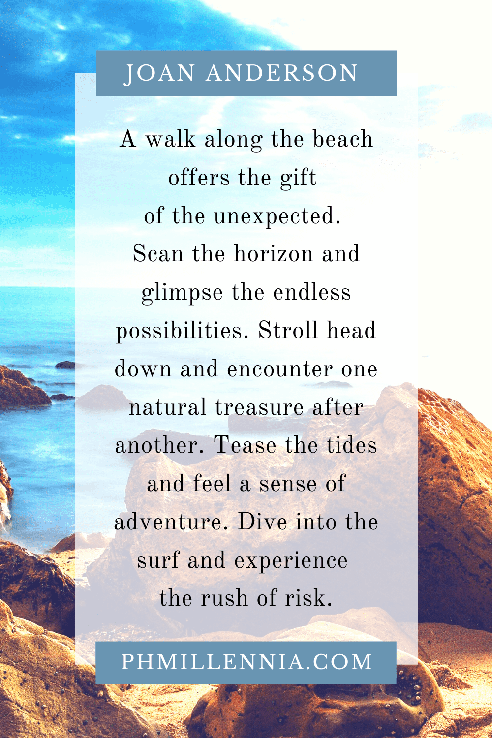 A Pinterest Pin for the article '199 Beach Quotes for People Who Love the Sand and the Sea' by phmillennia