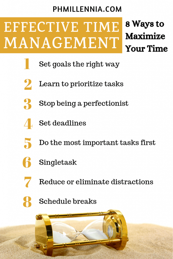 Pinterest Graphic for the article entitled Effective Time Management: 8 Ways to Maximize Your Time