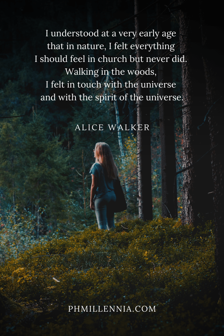 A quote on woods and forests on a background of a woman standing in the middle of a forest