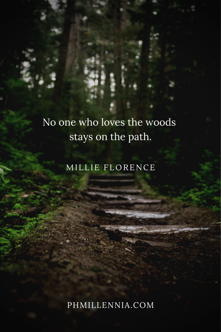 A quote on woods and forests on a background of a dirt and wood path leading through a forest