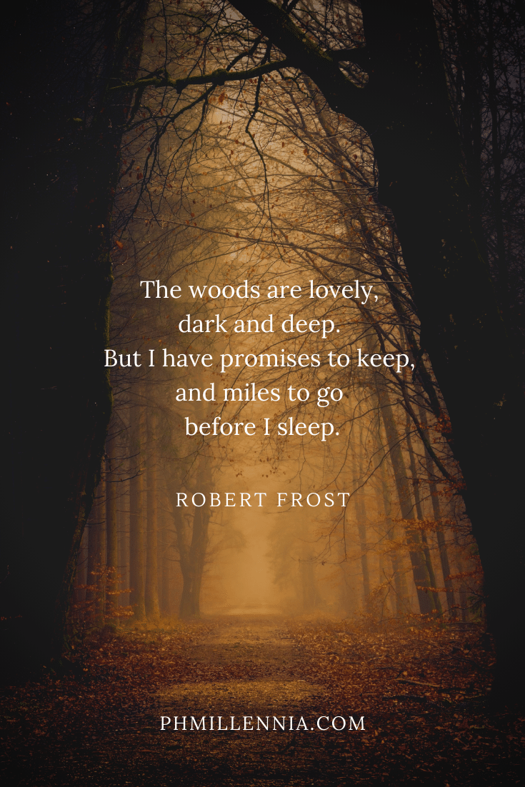 A quote on woods and forests on a background of a path running through dark woods in autumn