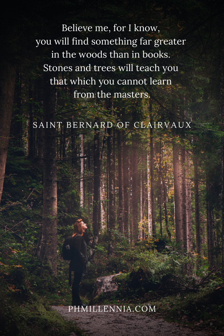 A quote by Saint Bernard concerning forests on a background of a woman standing in the middle of the woods