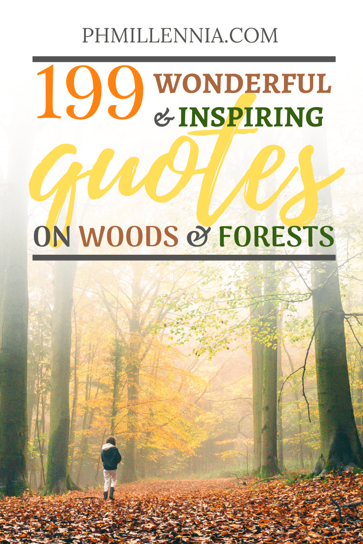 "Pinterest Graphic for the article entitled ""199 Wonderful and Inspiring Quotes on Woods and Forests"""