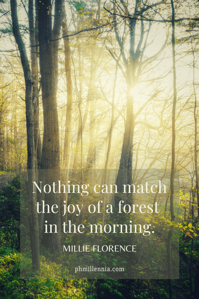 """A Pinterest Pin for the article entitled """"199 Wonderful and Inspiring Quotes on Woods and Forests"""" on phmillennia.com"""