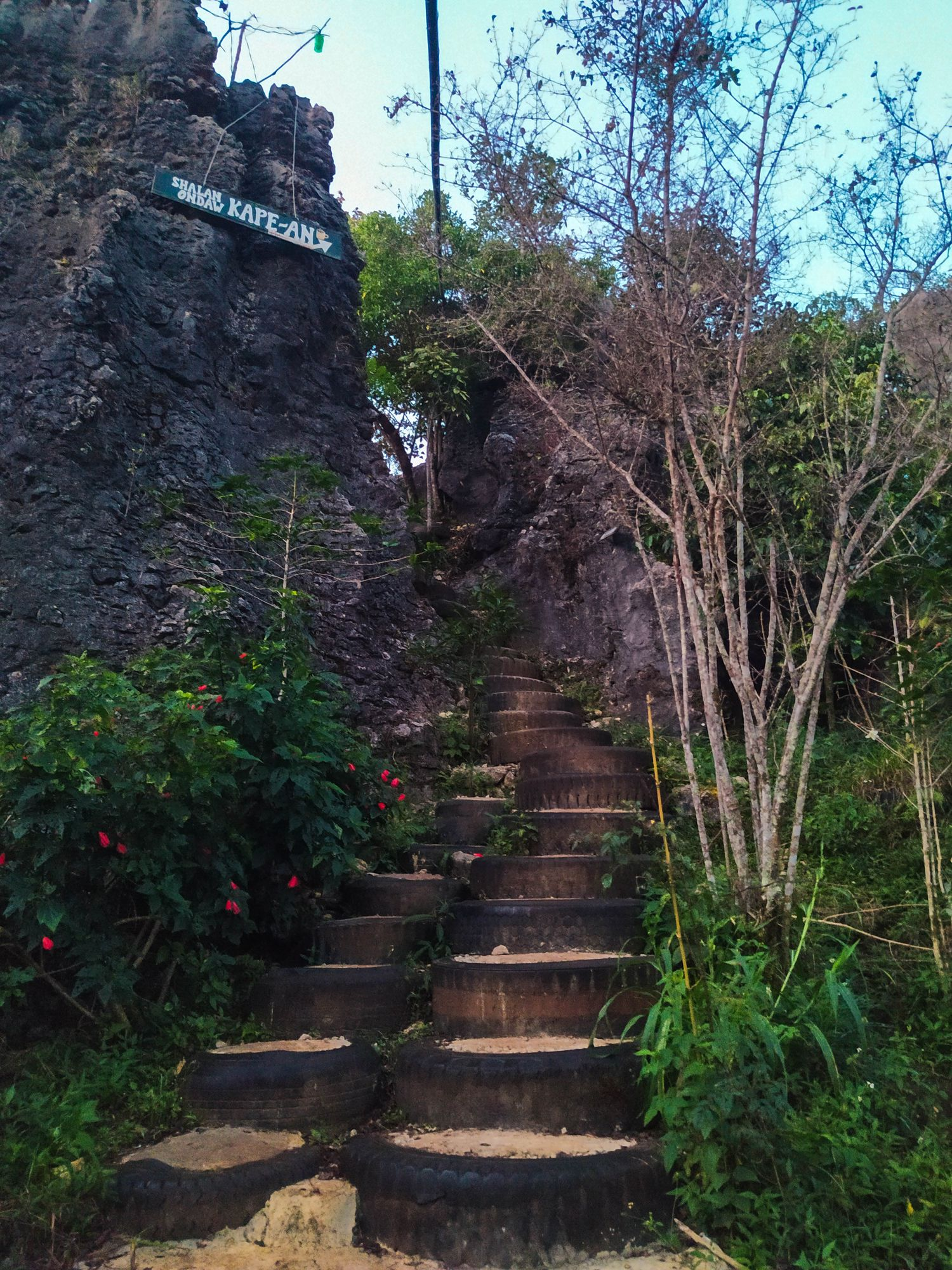 Stairs made out of waste tires and concrete going up and through a gap on a limestone cliff growing with vegetation