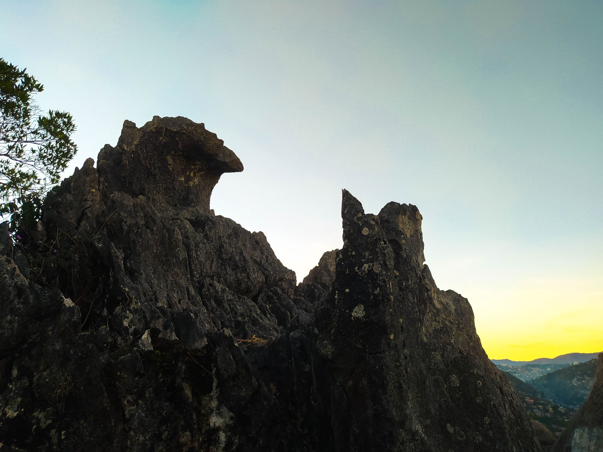 Limestone rock formations beneath a dawn sky at Mount Kalugong
