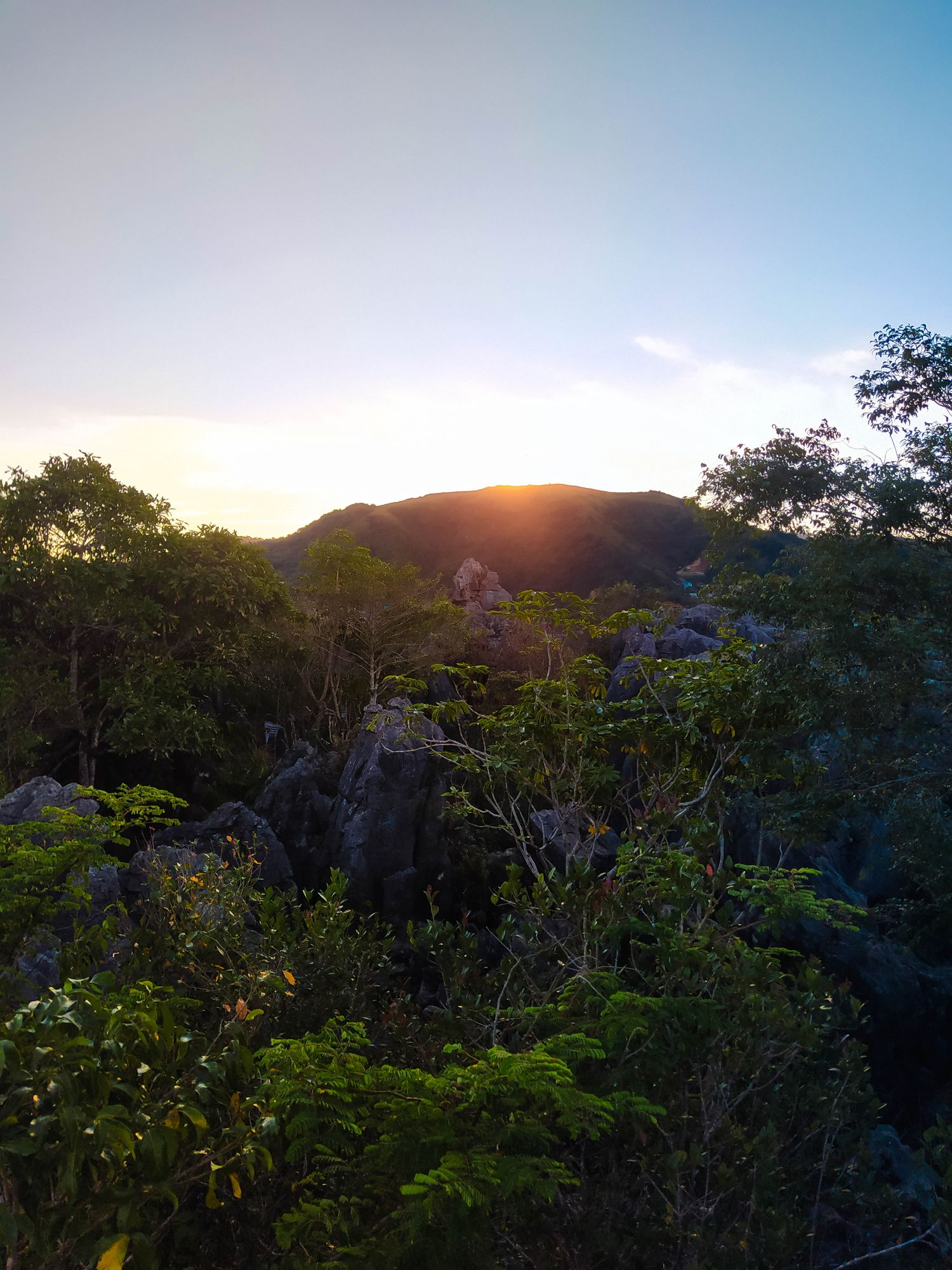 Sun rising above a mountain with limestone rocks and vegetation in the foreground