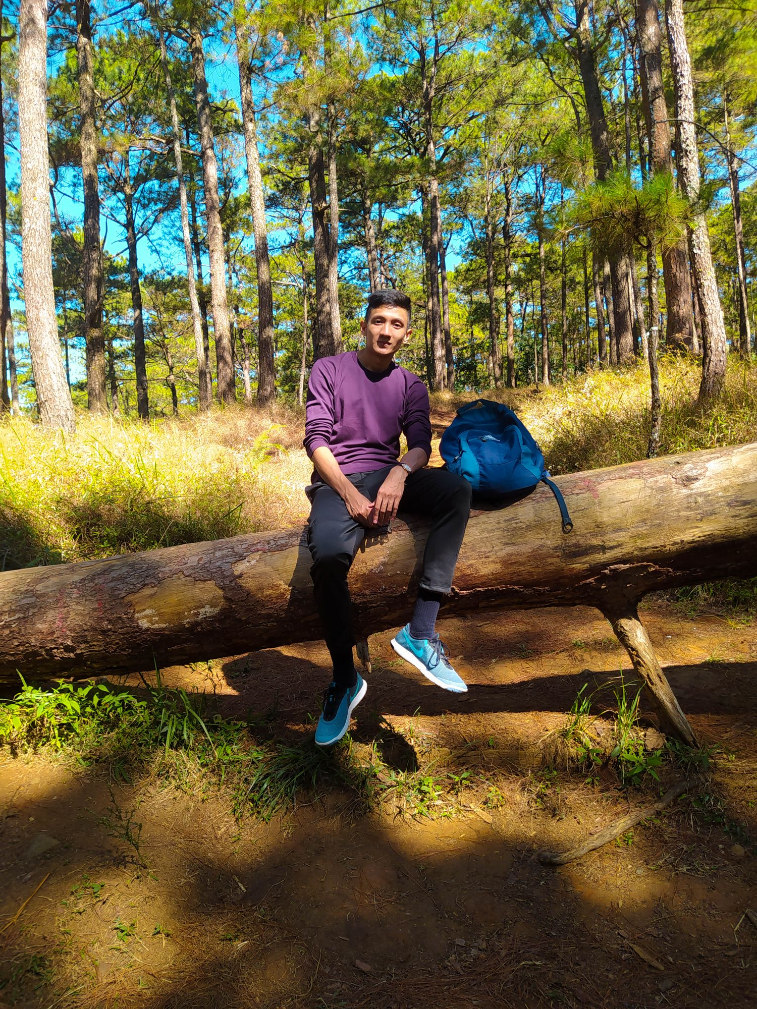 A man sitting on a log in the middle of the woods with a backpack beside him somewhere along the Eco-Trail