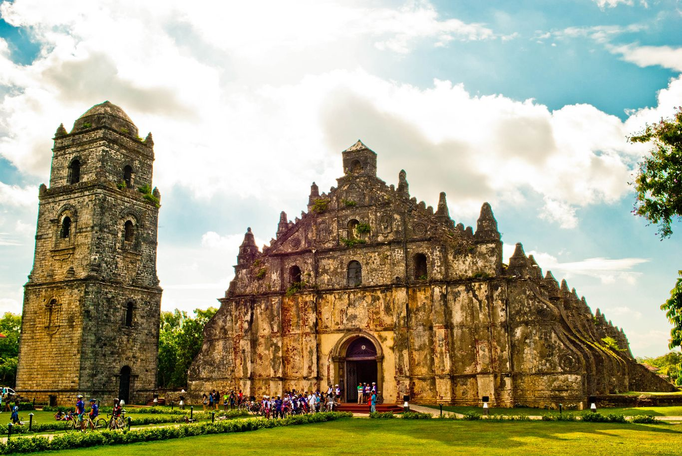 The facade and bell tower of the old stone church of Paoay, one of the UNESCO World Heritage Sites in the Philippines