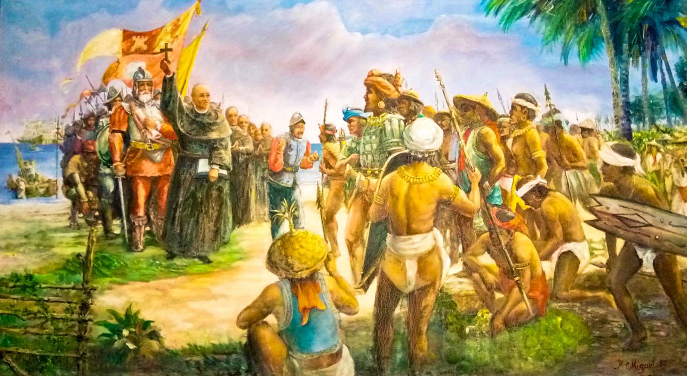 Painting of Western colonialists interacting with indigenous peoples