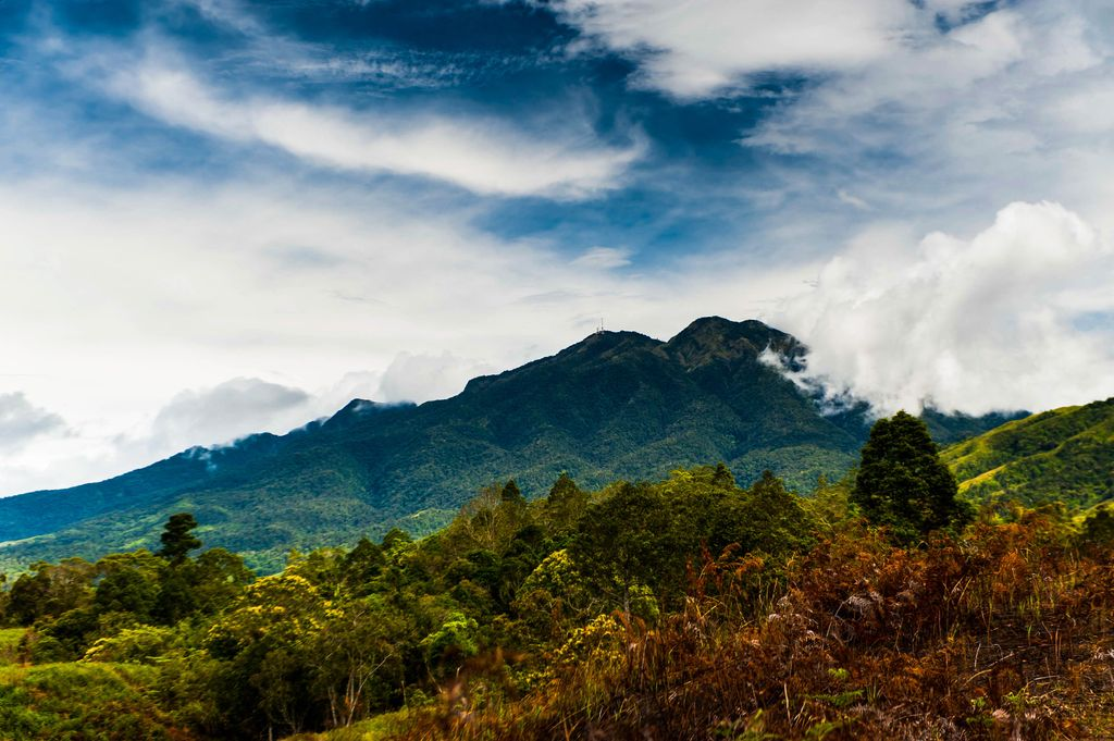 A dark and forested mountain beneath a cloudy sky