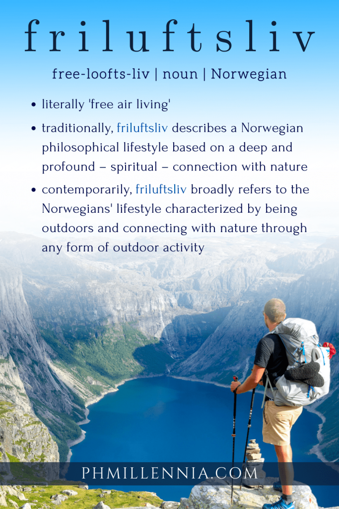 """A Pinterest graphic (Pin) for the article entitled """"Friluftsliv: A Norwegian Philosophy to a Healthy and Happy Life"""" by phmillennia"""