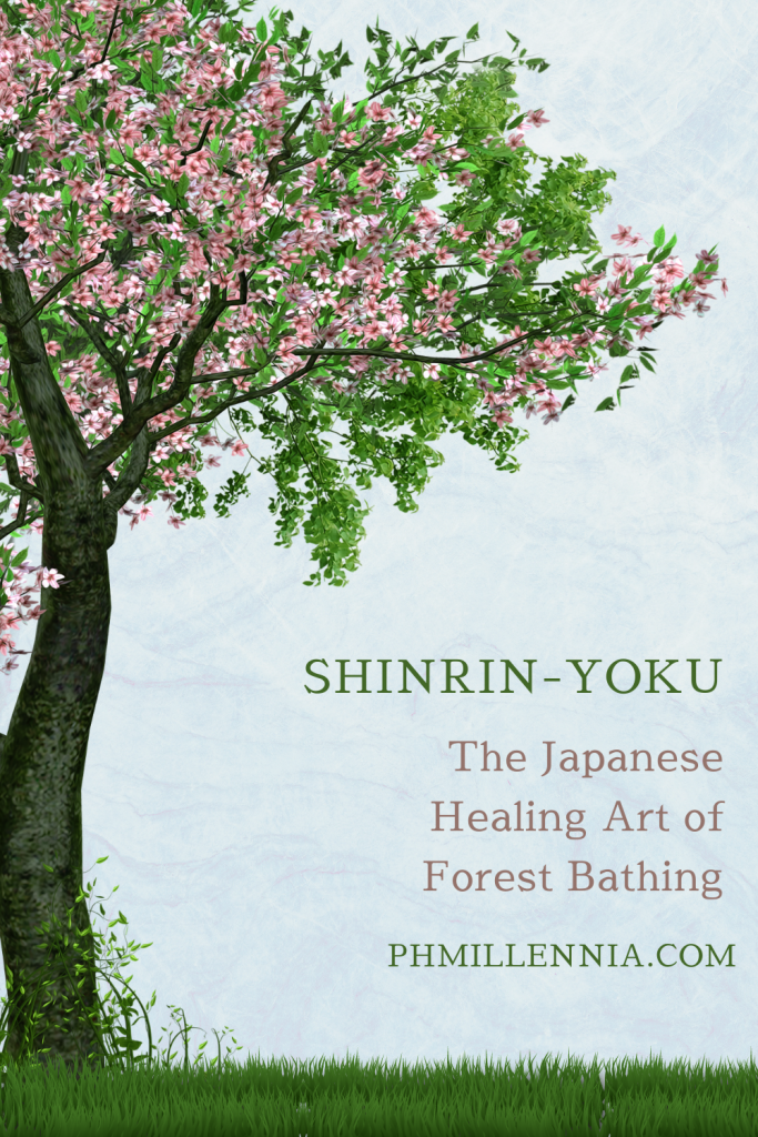 """A Pinterest Graphic (Pin) for the article entitled """"Shinrin-Yoku: The Japanese Healing Art of Forest Bathing"""" by phmillennia"""
