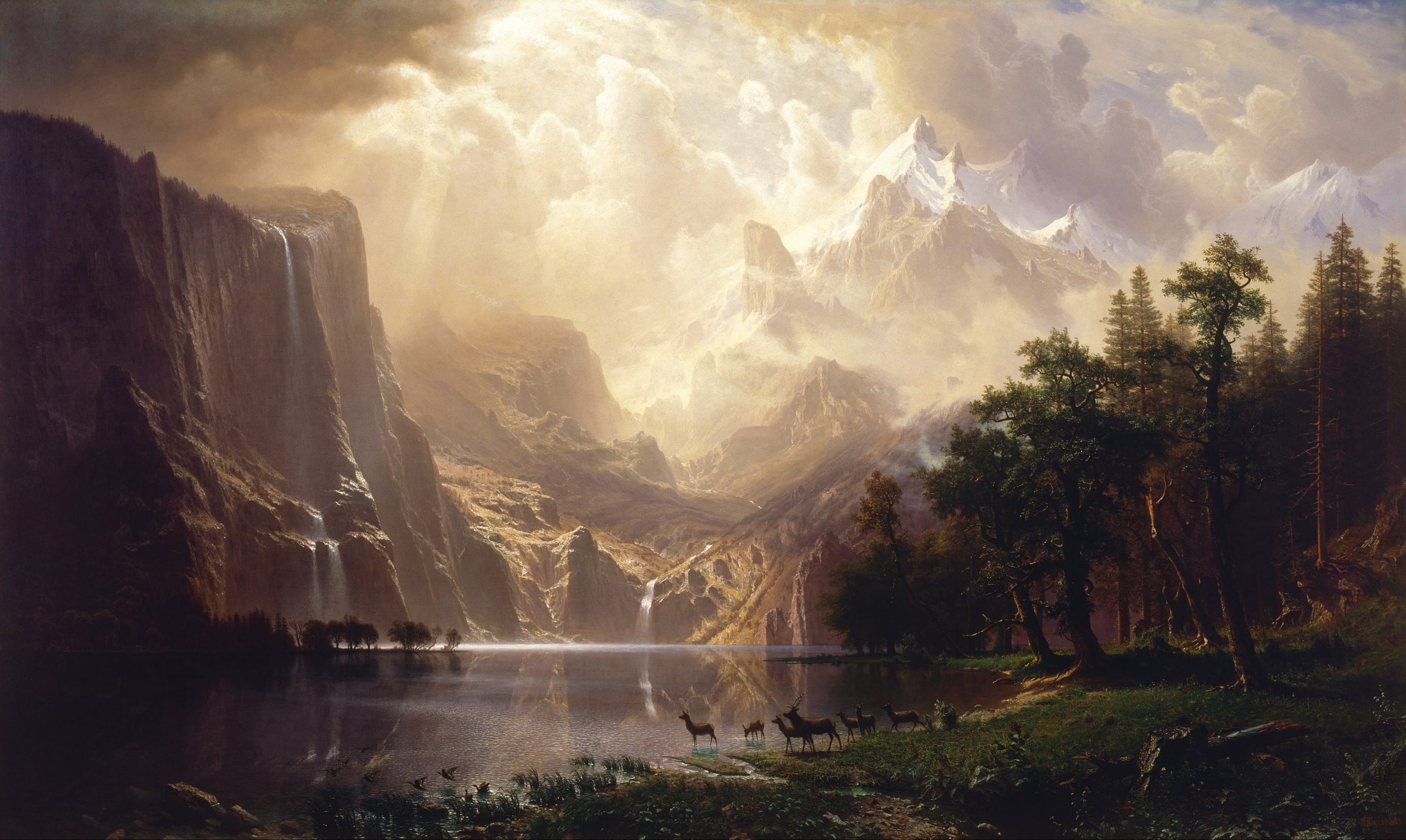 An oil painting of the mountains of California, specifically the Sierra Nevada