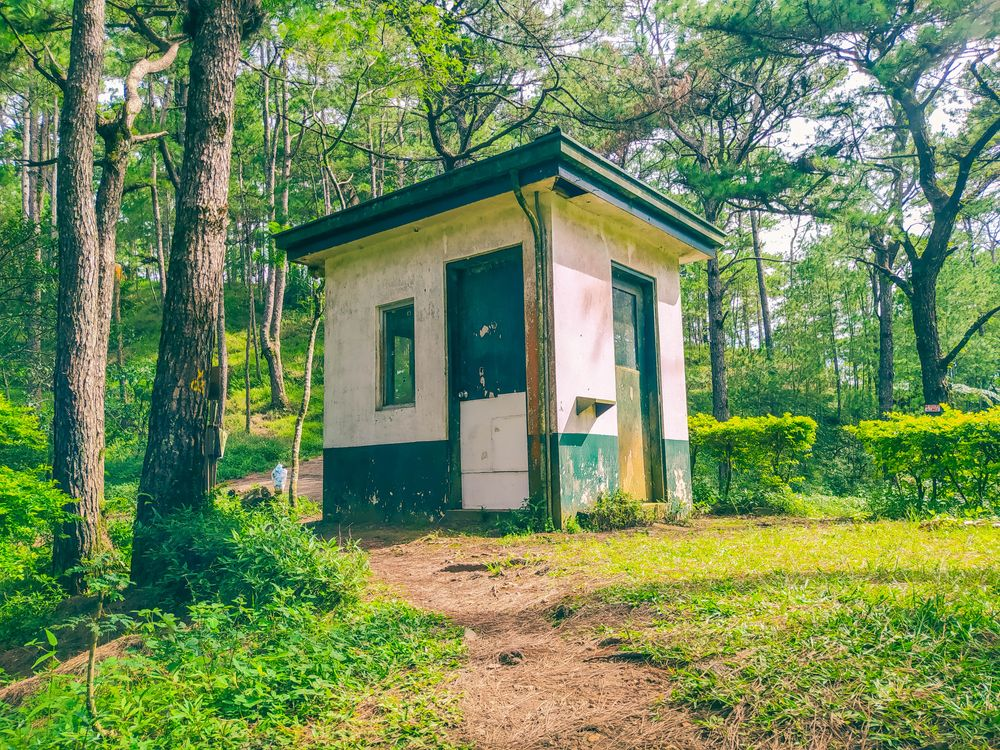 A small concrete guardhouse in the middle of the forest