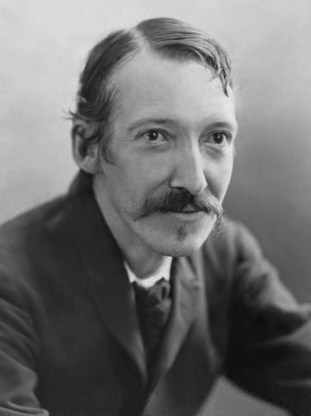 A black and white photograph of Robert Louis Stevenson, author of 'Travels with a Donkey in the Cevennes'