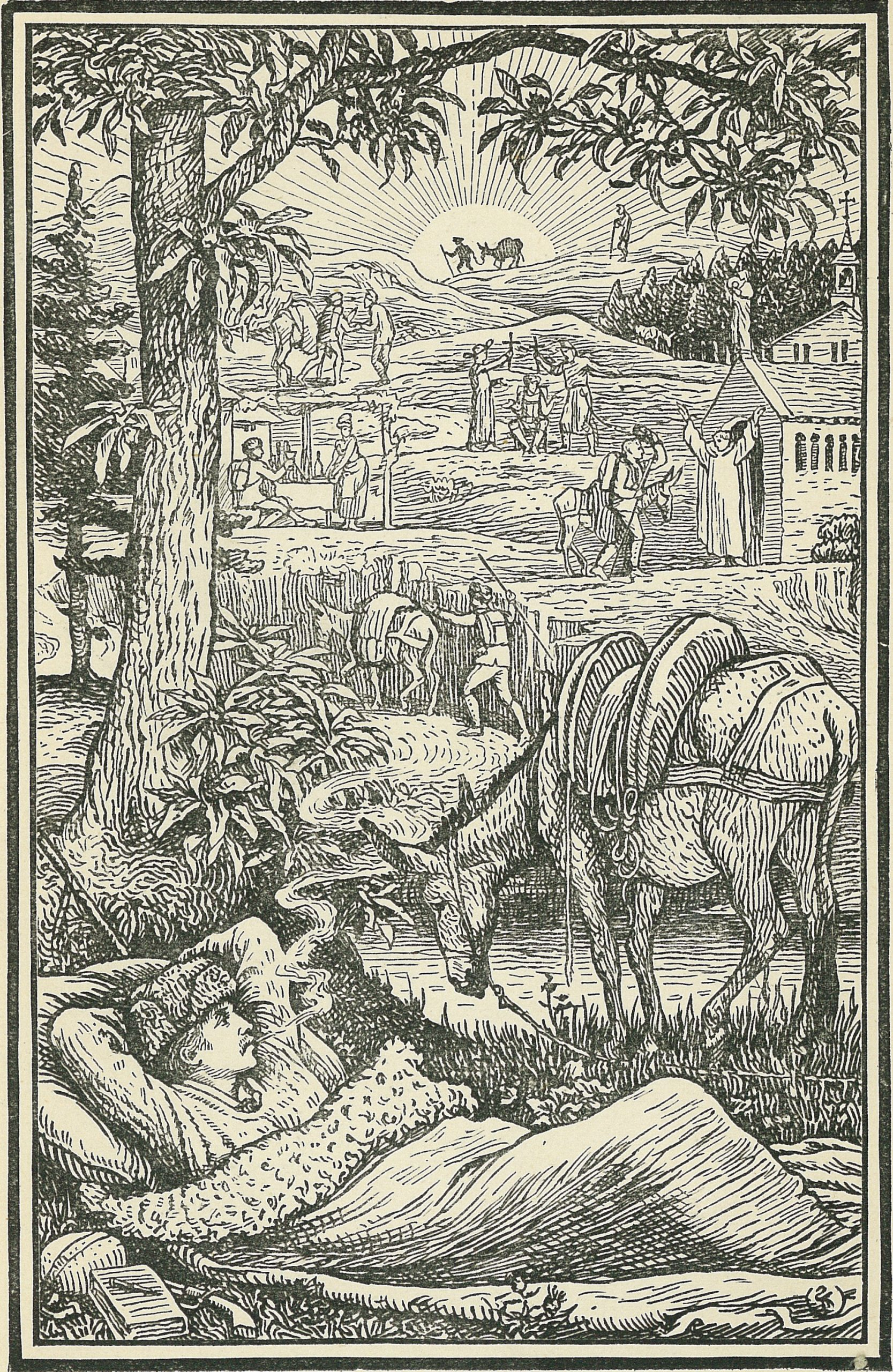 Black and white frontispiece of Robert Louis Stevenson's Travels with a Donkey in the Cevennes