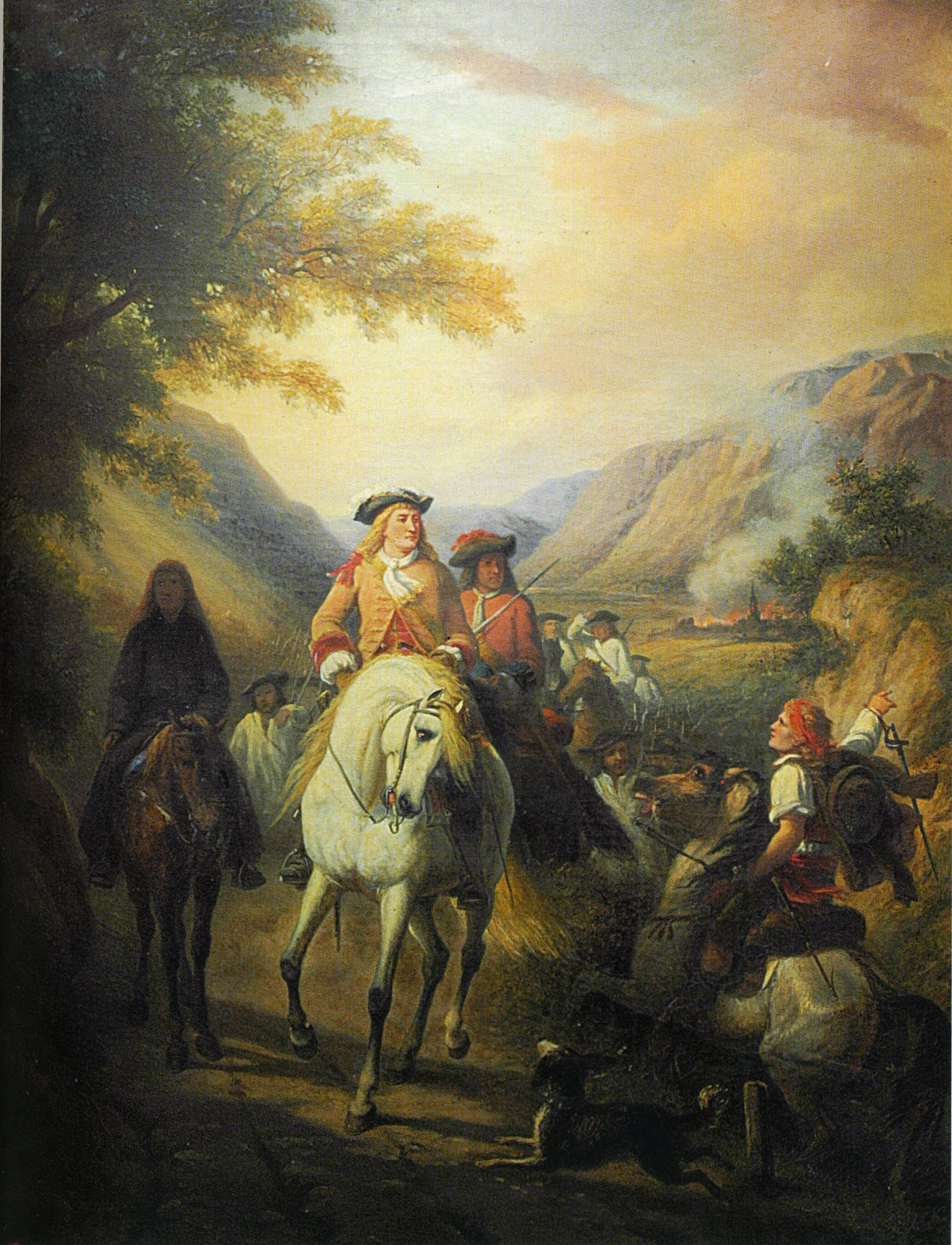 An old painting of soldiers on horseback riding through a valley