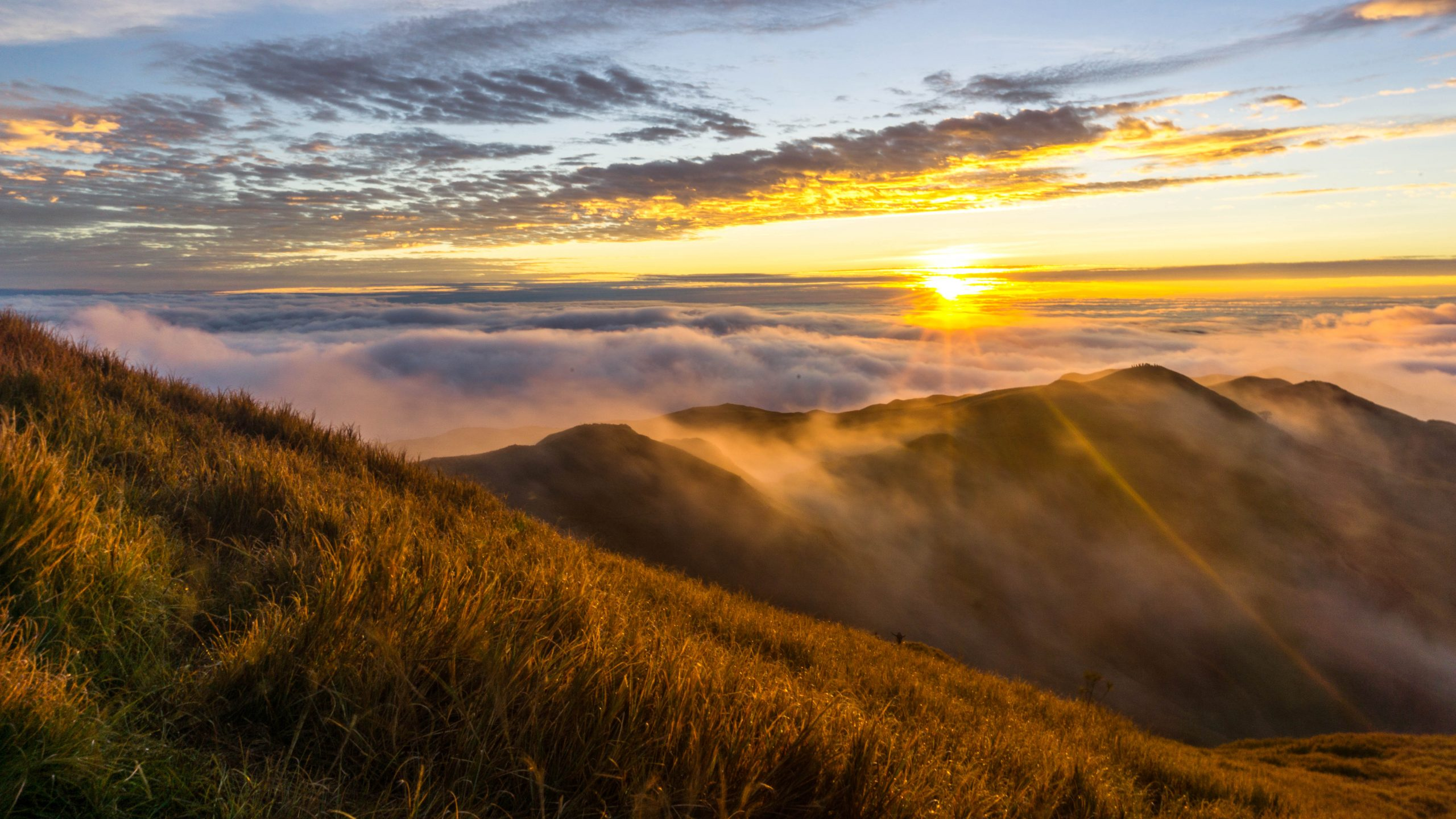 A grassy,mmountainous landscape high above a layer of clouds