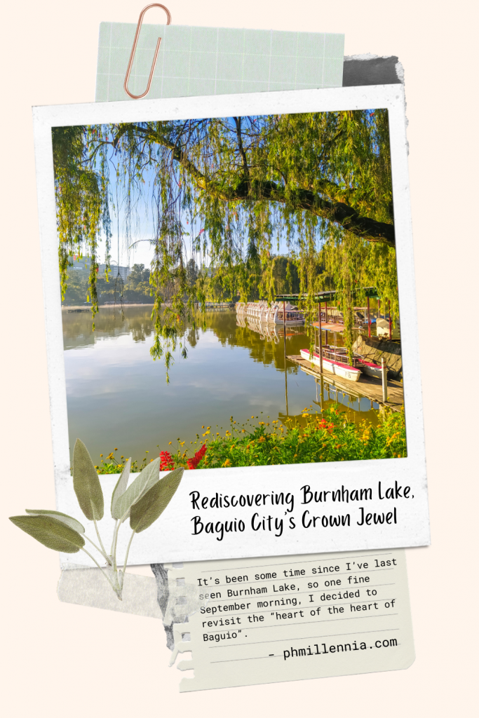 "Pinterest Pin for the article ""Rediscovering Burnham Lake, Baguio City's Crown Jewel"" on phmillennia"