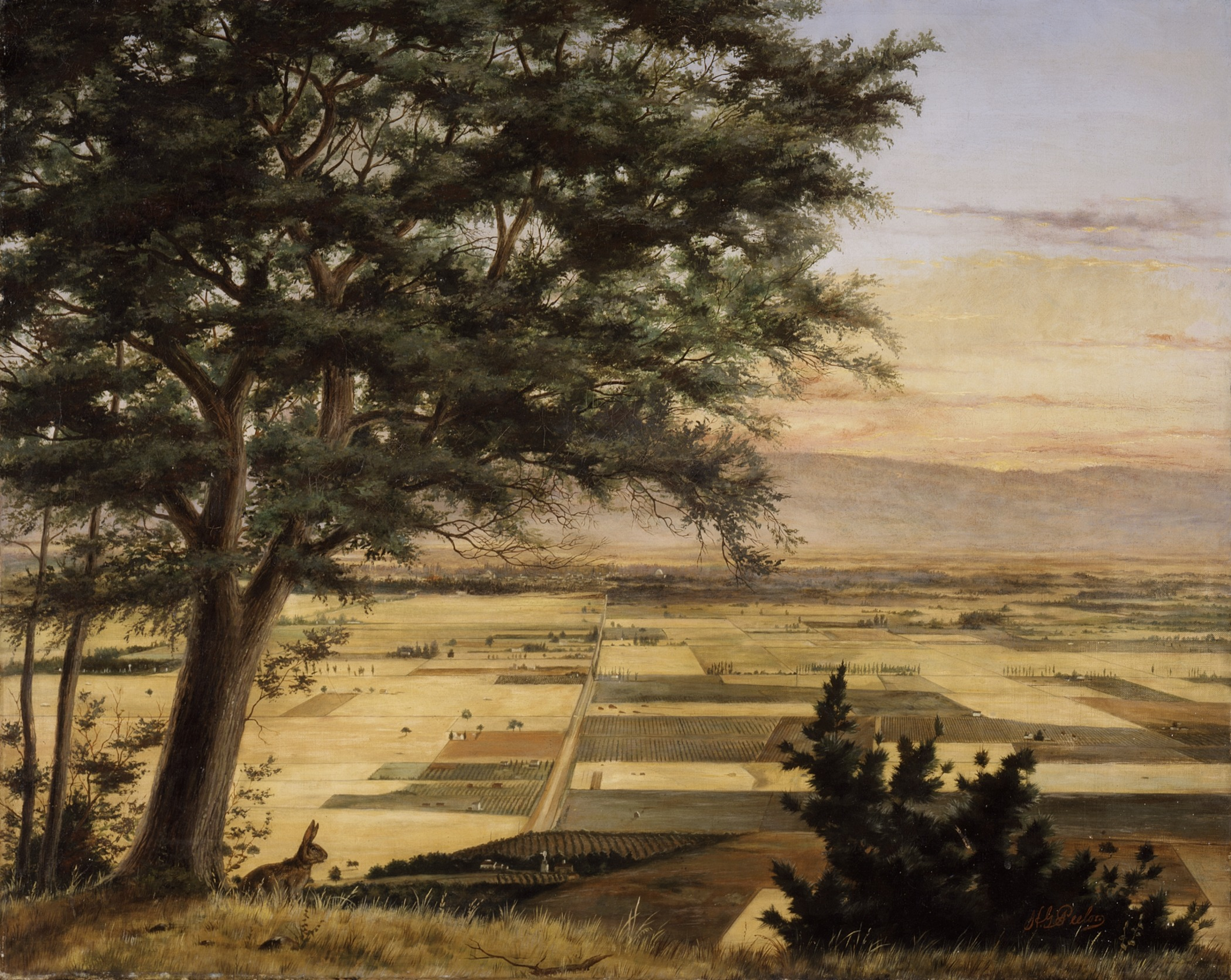 An oil painting of a tree overlooking a valley full of fields and farms