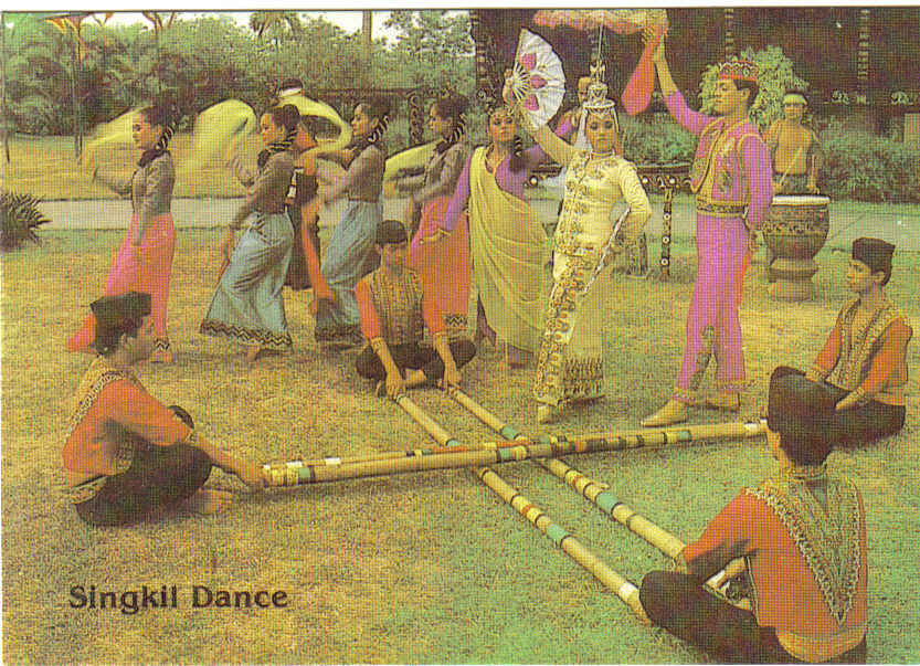 Ethnic people in traditional clothing performing a traditional dance