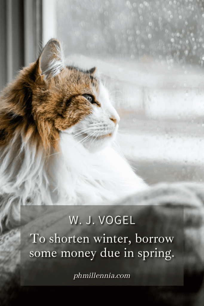 "A Pinterest Pin for the article ""100 Wonderful and Wholesome Quotes to Warm You this Winter"", a compilation of winter quotes, on phmillennia.com"