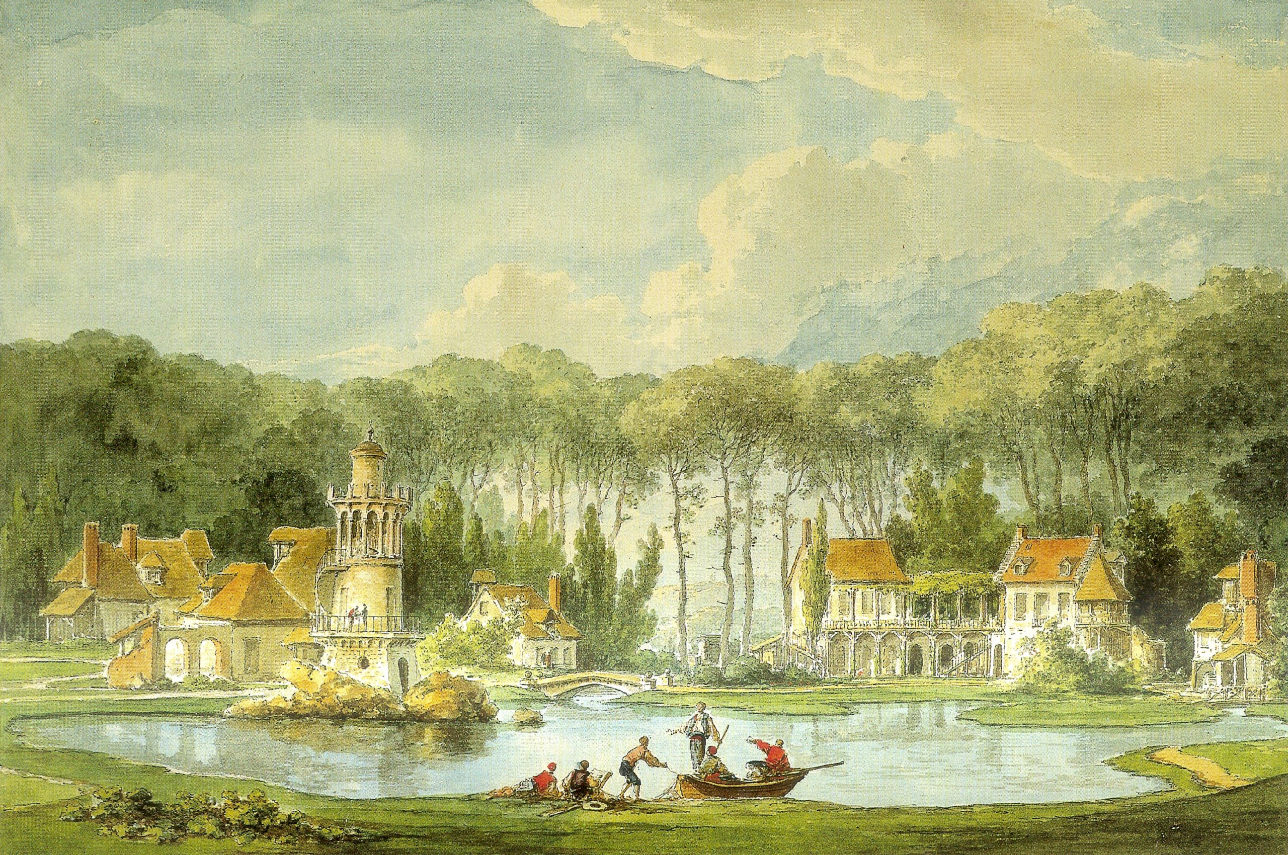 A photograph of Claude-Louis Châtelet's The Hameau, Petit Trianon, an aquarelle painting depicting the artificial 'hamlet' built for Marie Antoinette to satisfy her 'cottagecore' whims