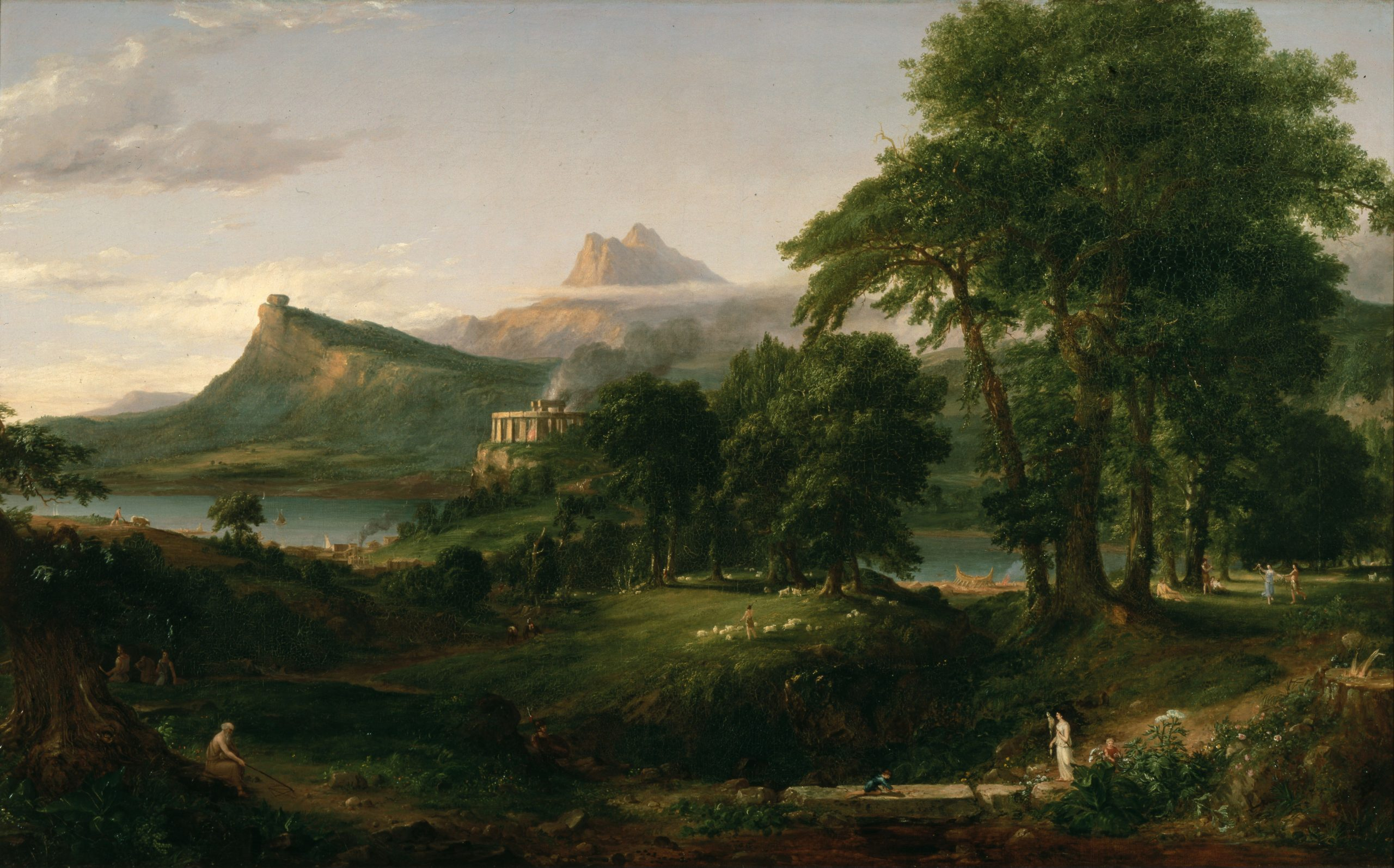 A photograph of Thomas Cole's The Arcadian or Pastoral State, an oil on canvas painting depicting a bucolic paradise, such as now espoused in the modern cottagecore aesthetic