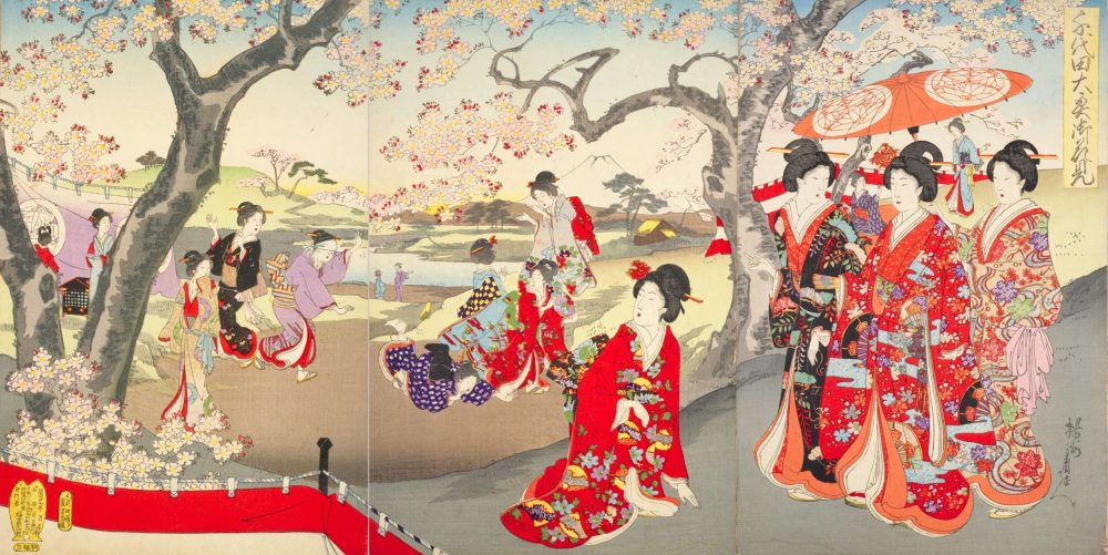A triptych ukiyo-e color woodblock print by Toyohara Chikanobu, entitled Chiyoda Ōoku Ohanami (Chiyoda Great Interior Flower Viewing, 1894), which depicts the court ladies of Edo castle wearing kimonos and other traditional Japanese garb while celebrating a hanami (flower-viewing or cherry blossom-viewing) party beneath cherry trees in bloom